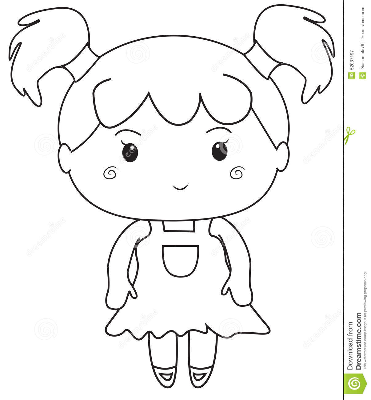 Little Girl Coloring Page Stock Illustration Illustration Of Cartoon