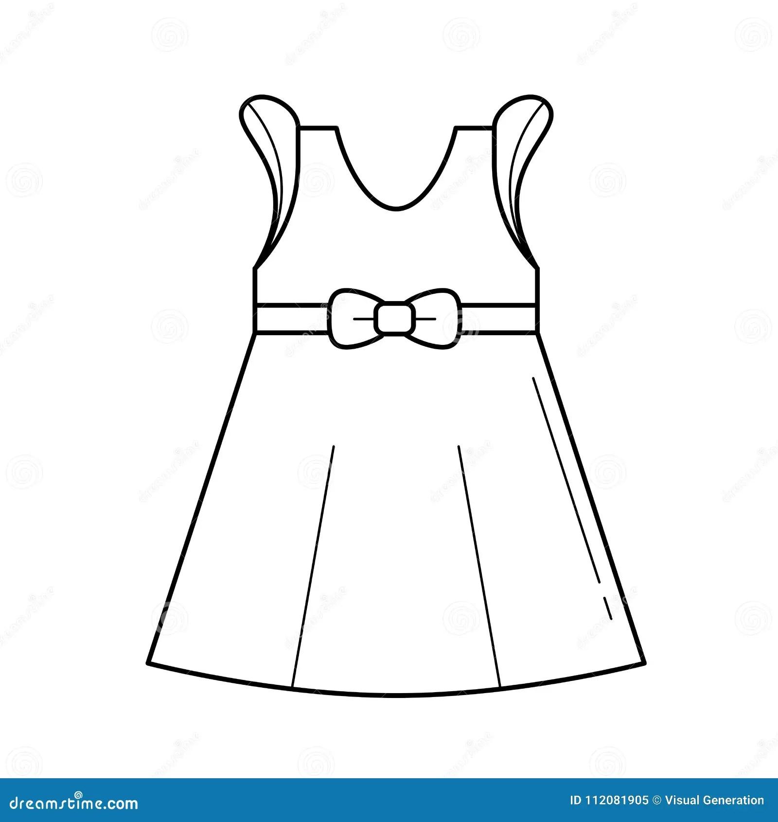 Little Girl Dress Vector Line Icon Stock Vector