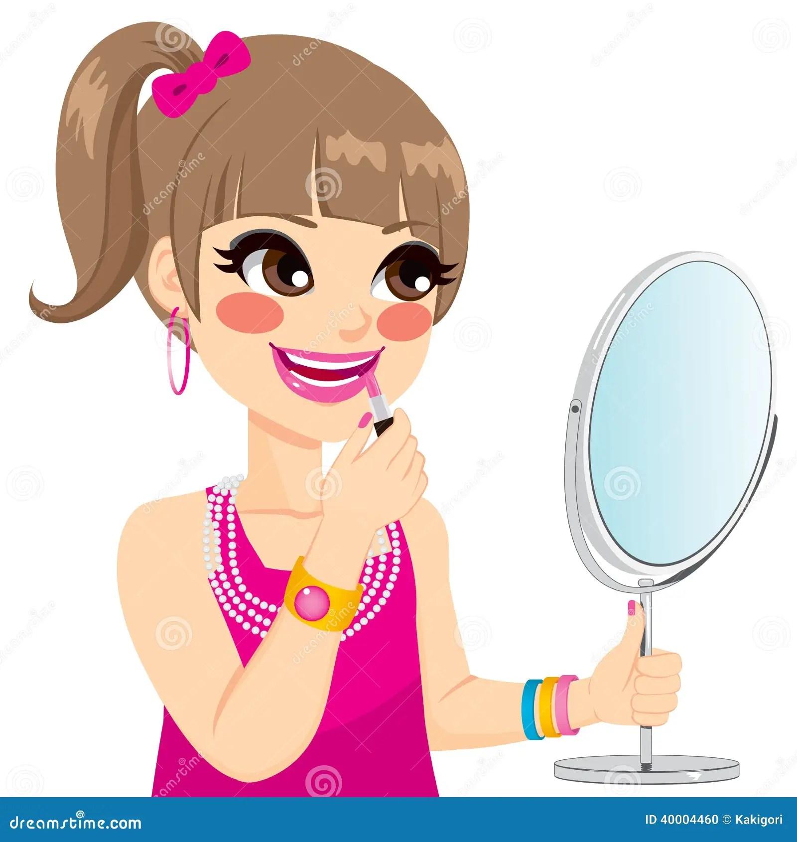 Little Girl Makeup Stock Vector Illustration Of Little