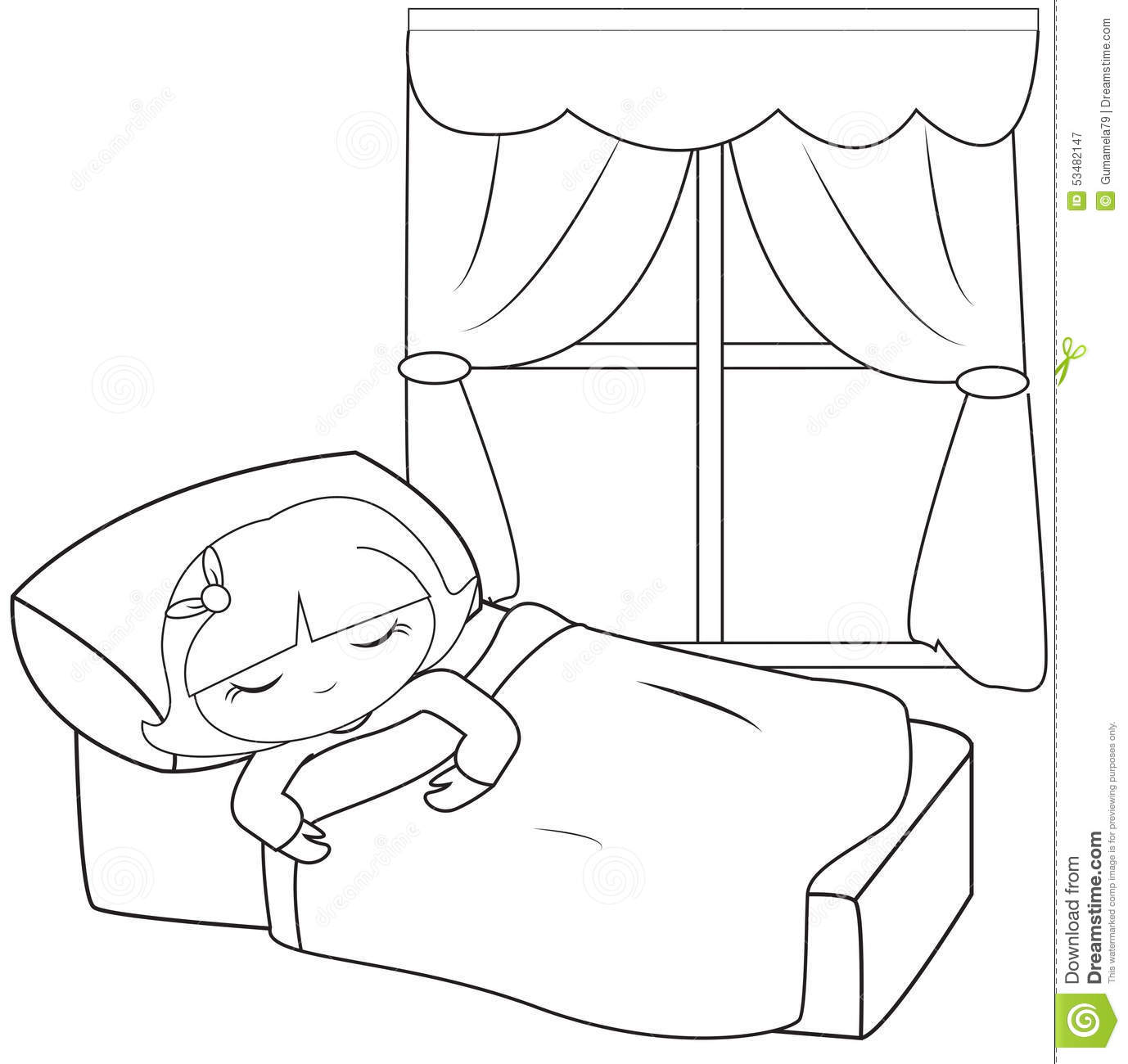 Little Girl Sleeping Coloring Page Stock Illustration