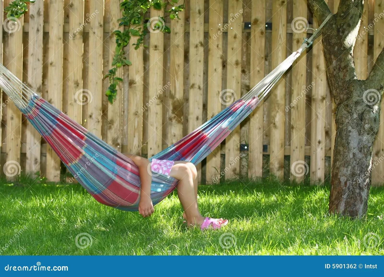 Little Girl Sleeping In Hammock Stock Photography