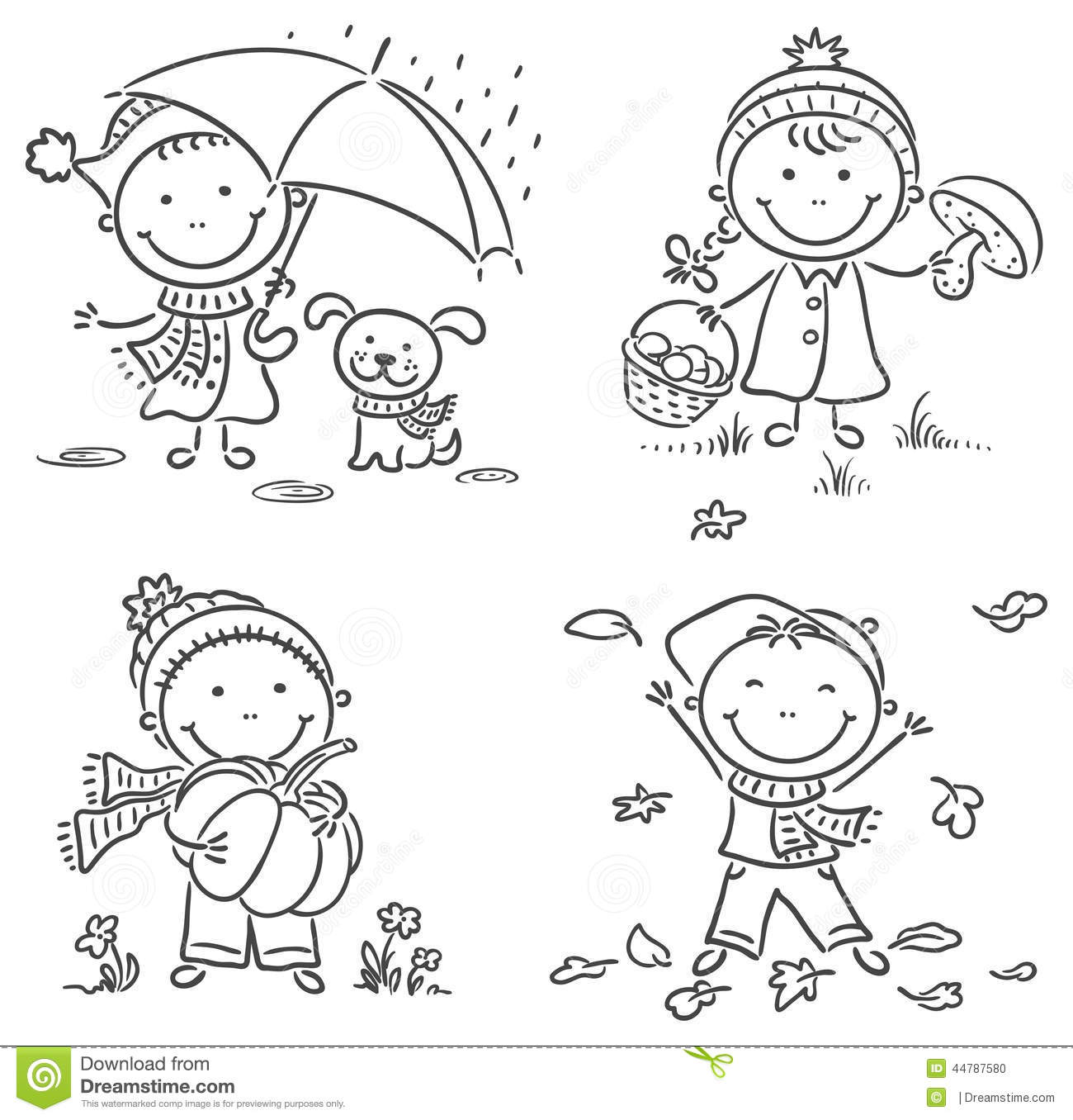 Little Kids Autumn Activities Stock Vector