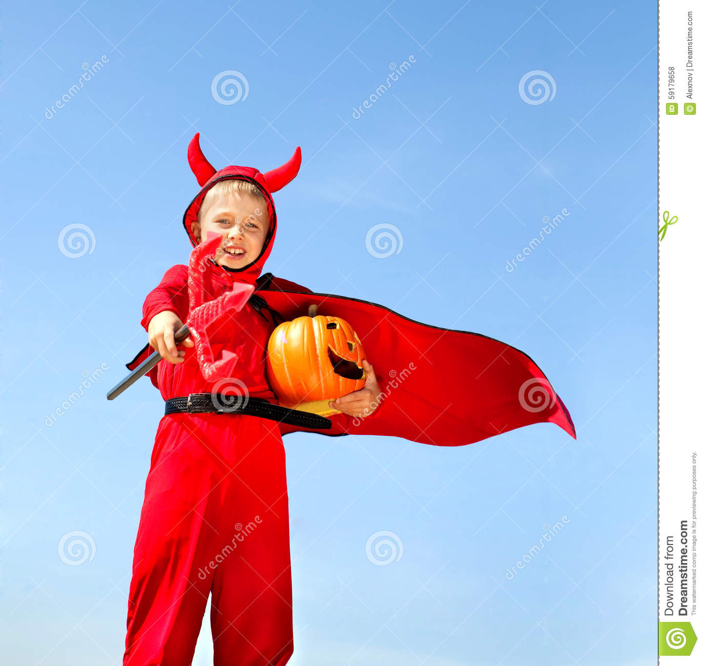 Little Red Devil Standing With A Trident Stock Photo