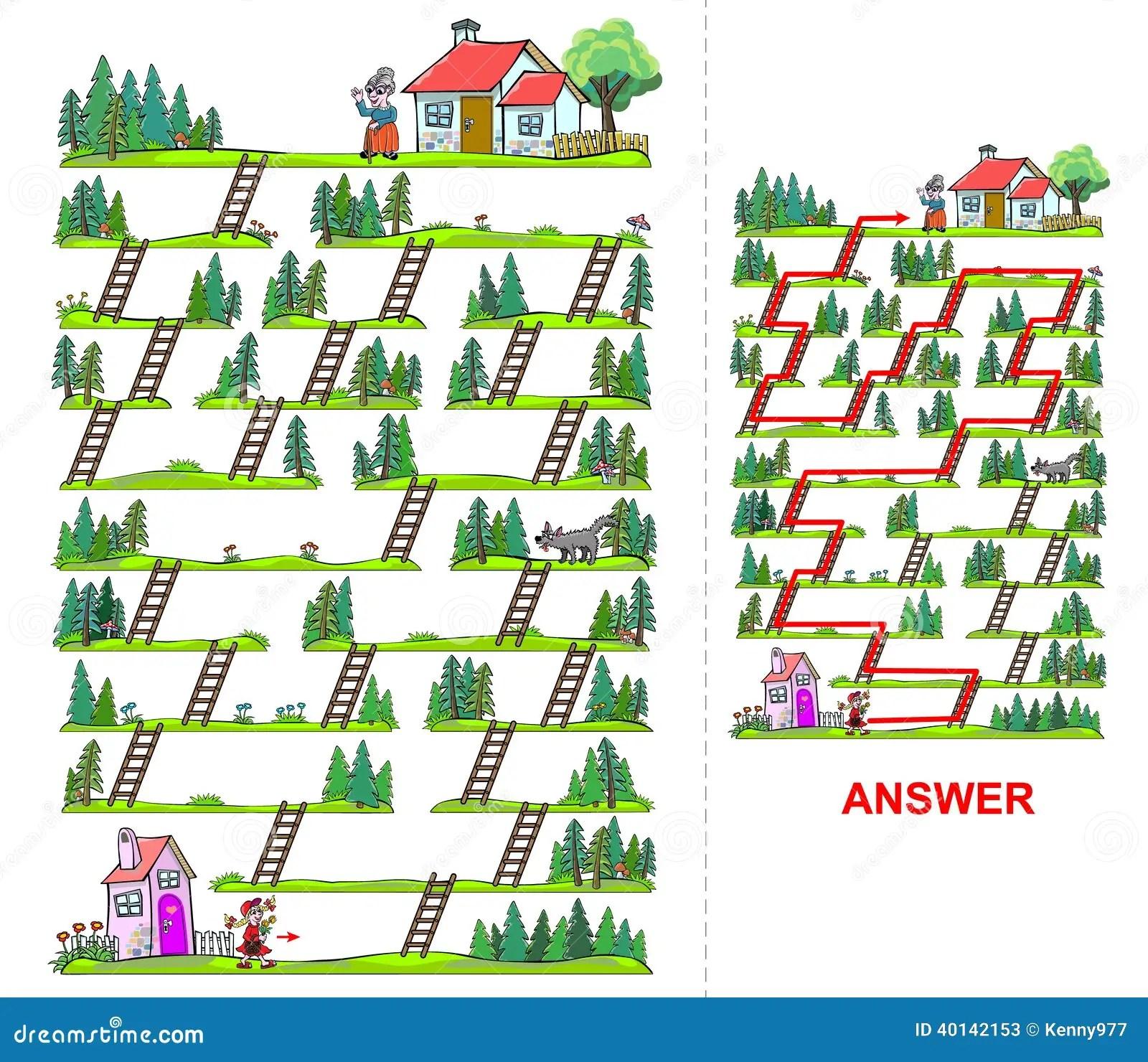 Little Red Riding Hood Maze For Kids Stock Vector