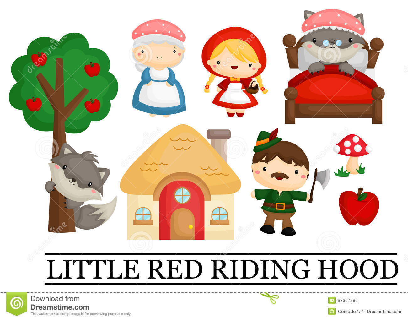 Little Red Riding Hood Stock Vector Illustration Of Child