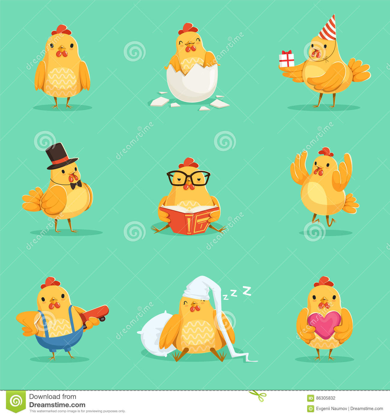 Little Yellow Chicken Chick Different Emotions And