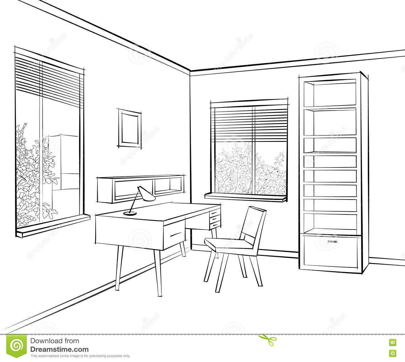 Livign Room Interior Sketch Workplace In Sunny Room