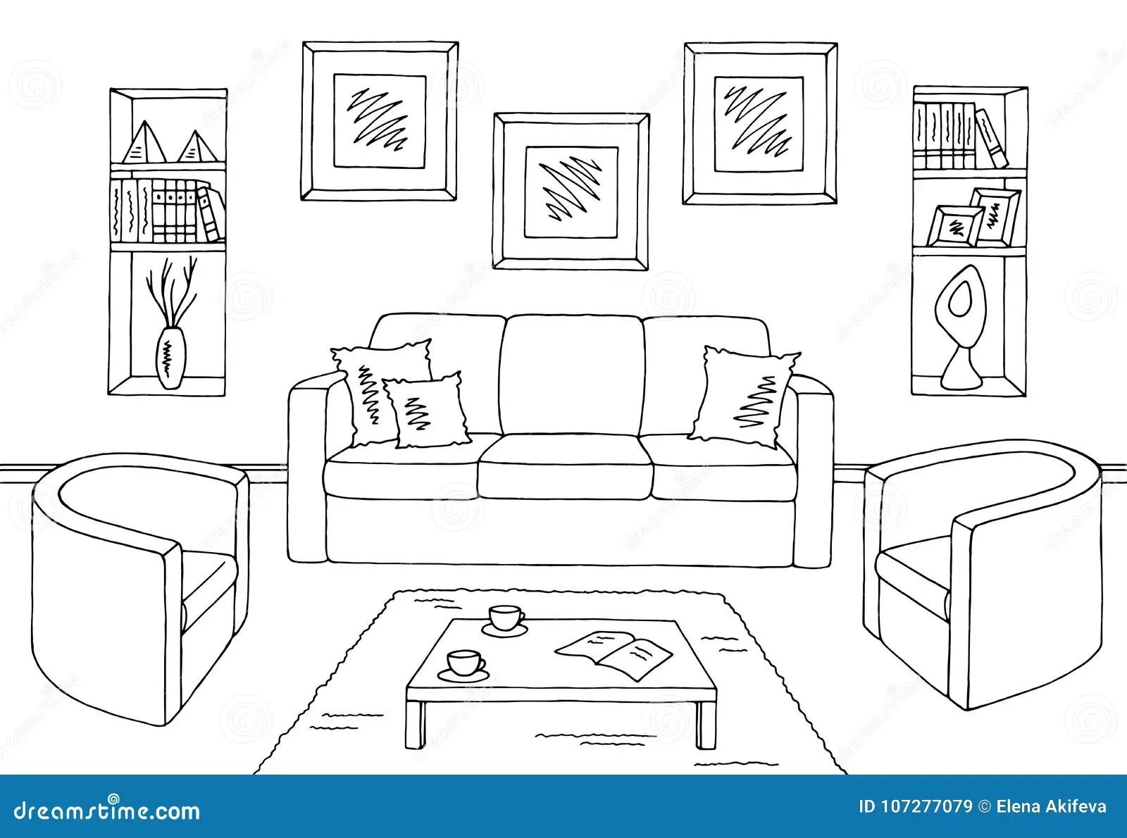 Living Room Graphic Black White Interior Sketch Stock
