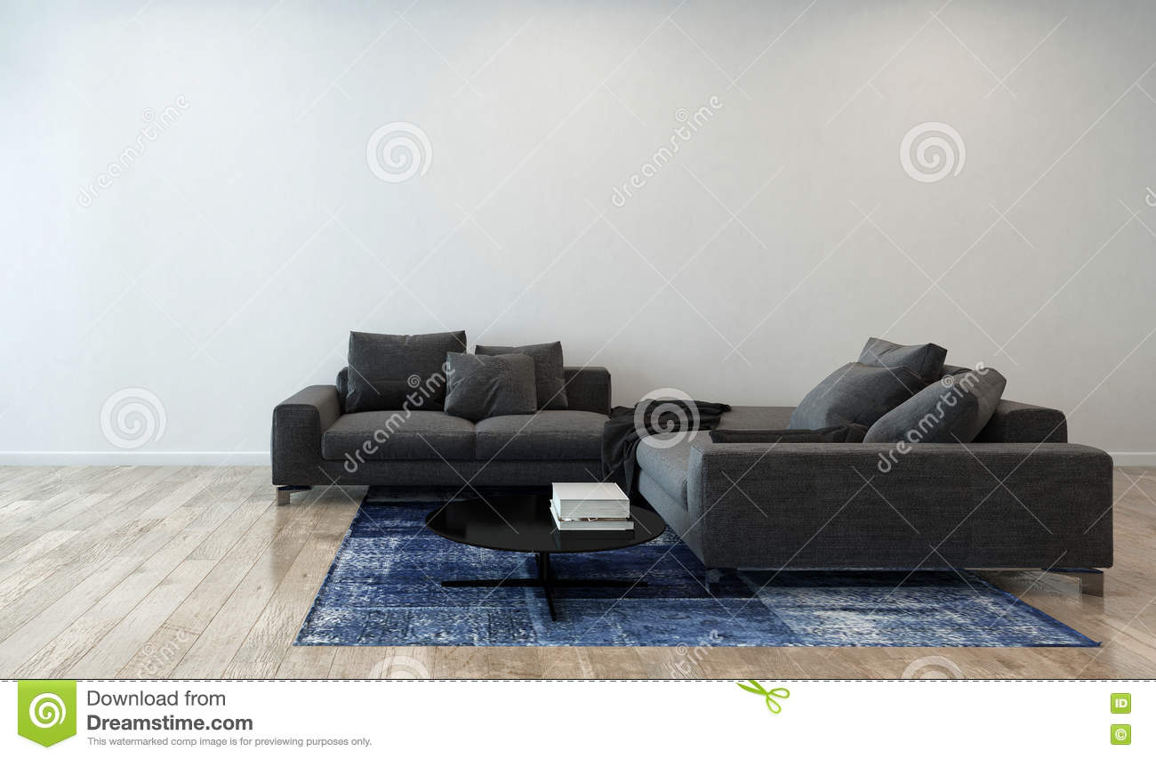 Living Room With Gray Sofa In Modern Apartment Stock Image Image Of Abode Couch 63461079