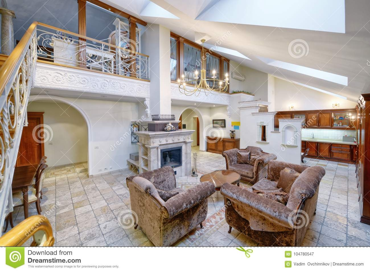 Living Room Interior In Modern House Stock Image Image Of | Duplex Living Room With Stairs | Modern | Single Room | Duplex Step | Indoor | Balcony
