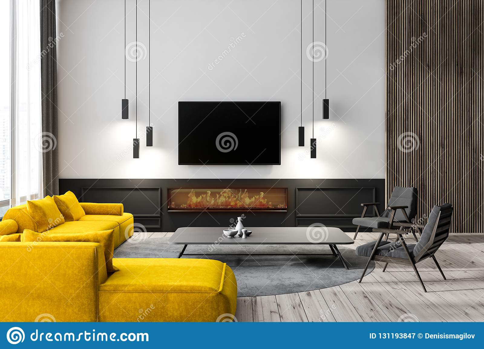 Living Room Interior With Tv Stock Illustration