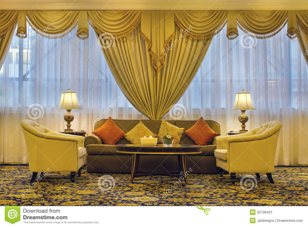 Living Room With Ornate Curtains And Furniture Stock Image
