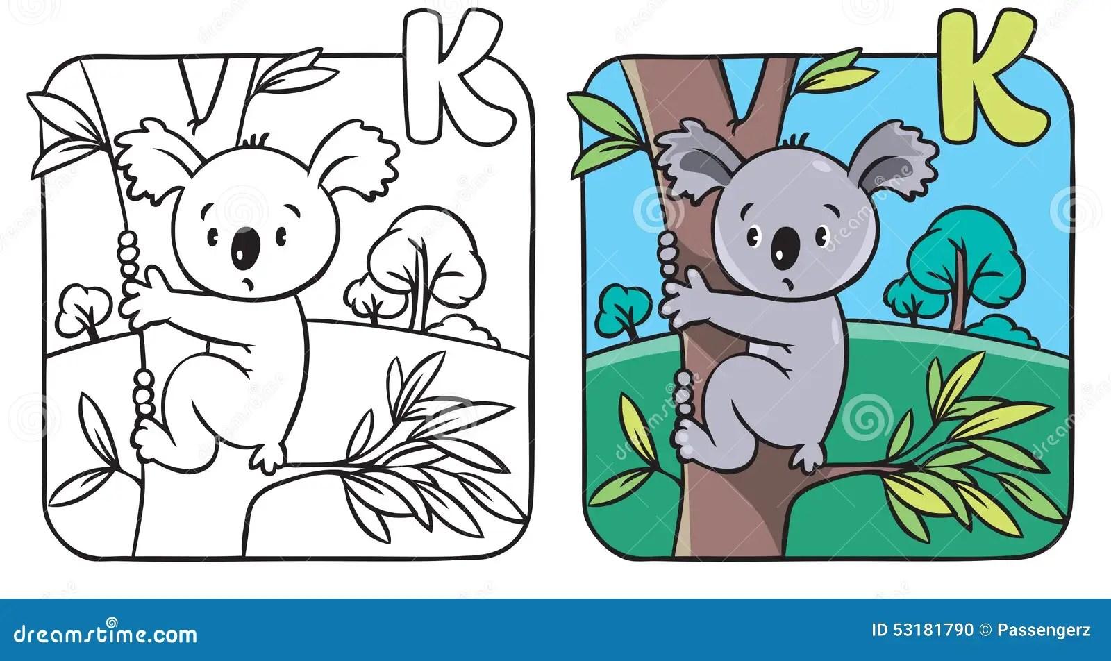 Livre De Coloriage Avec Le Koala Drole Alphabet K Illustration De Vecteur
