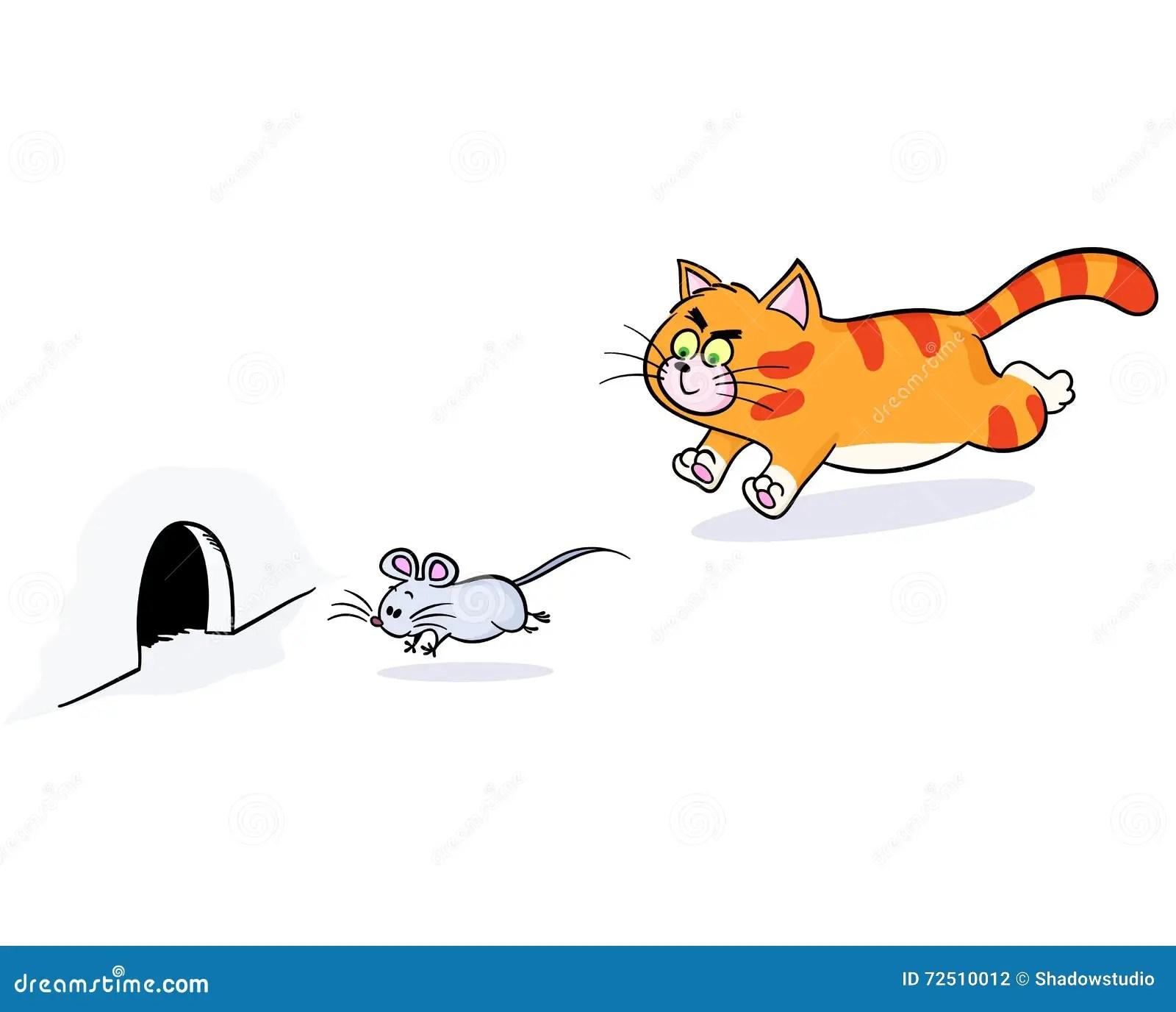 Ljust Rodbrun Katt Som Jagar En Mus Vektor Illustrationer