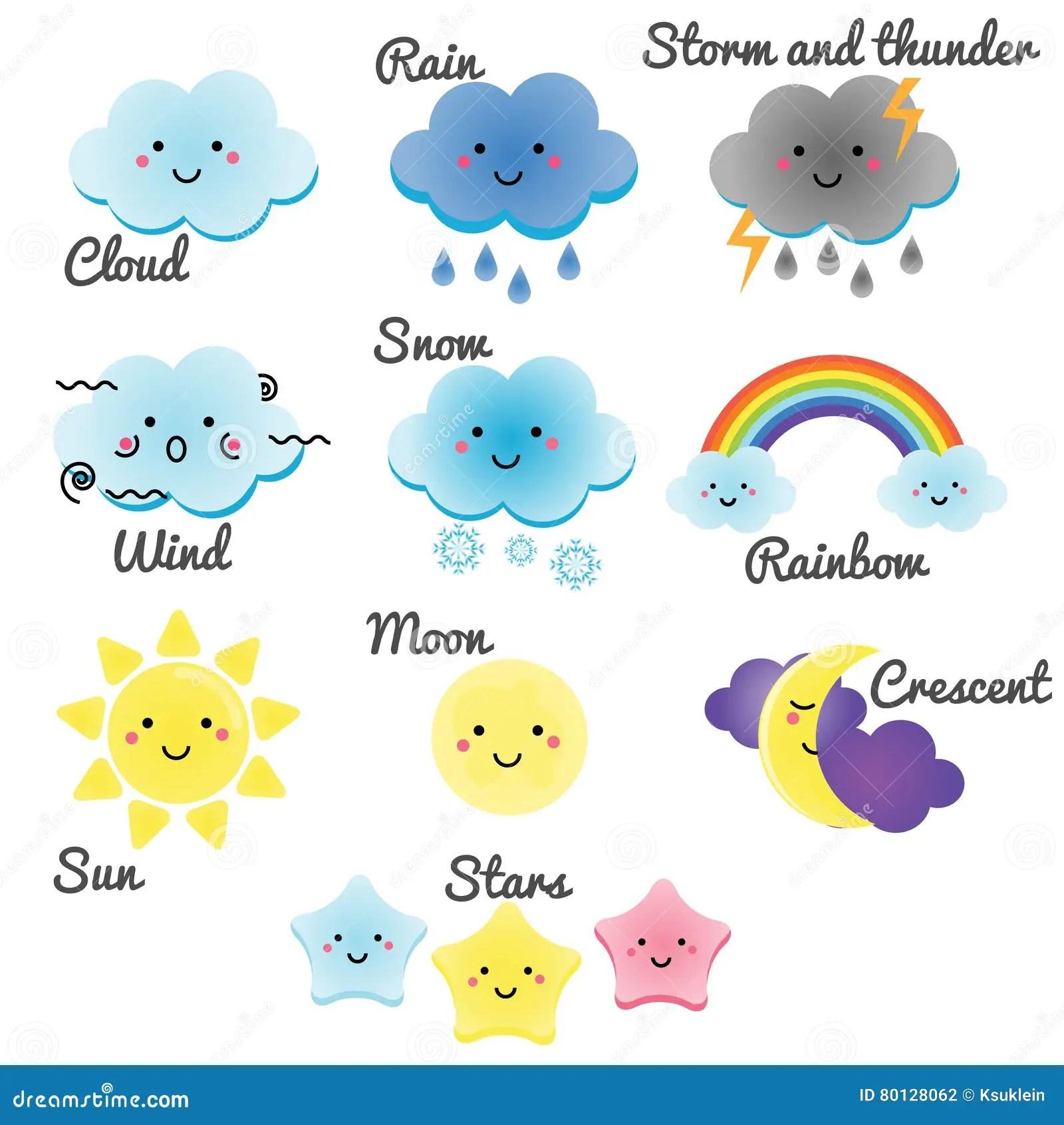 Elements Mignons De Temps Et De Ciel La Lune Le Soleil La Pluie Et Les Nuages De Kawaii