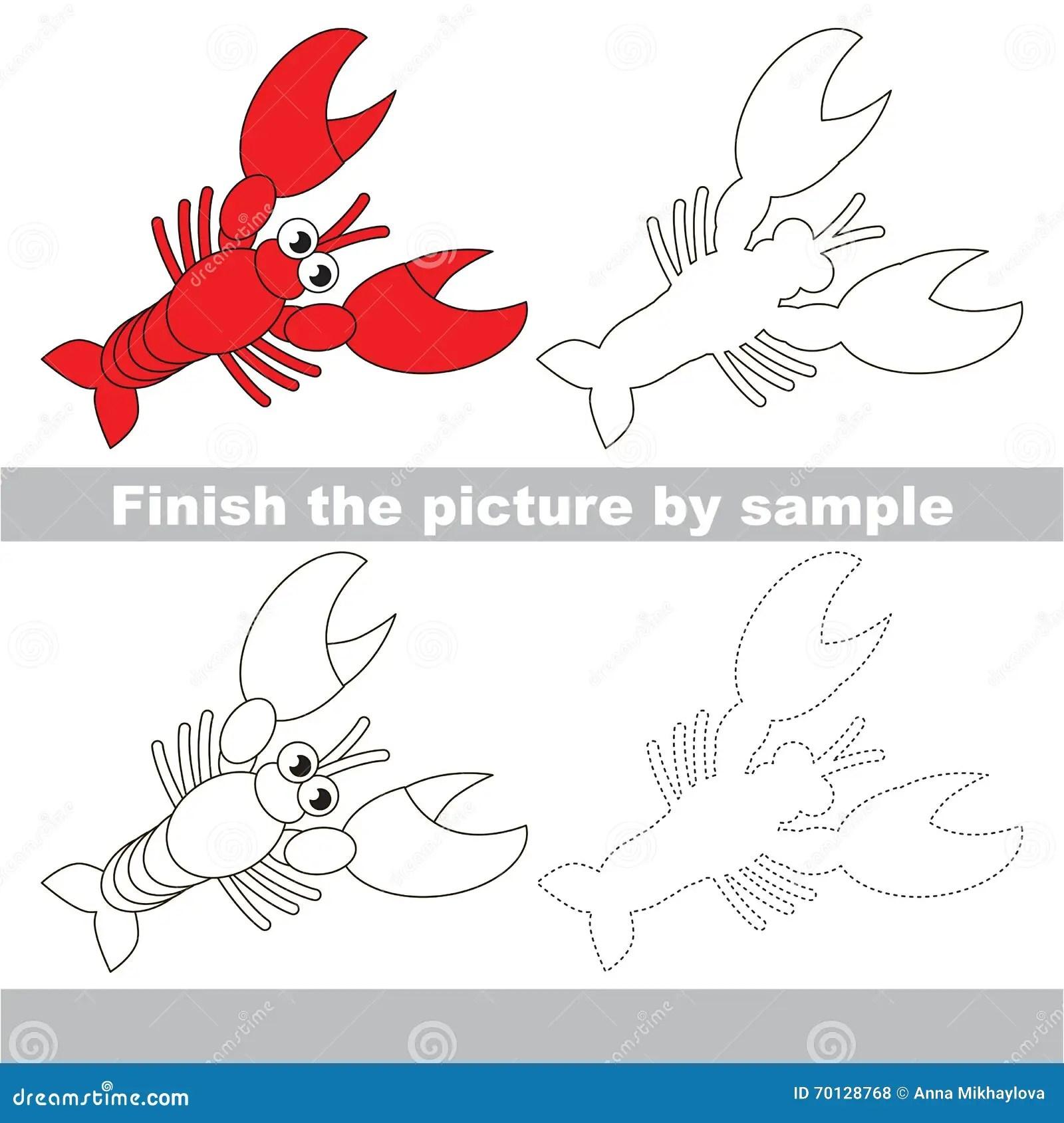 Lobster Drawing Worksheet Stock Vector