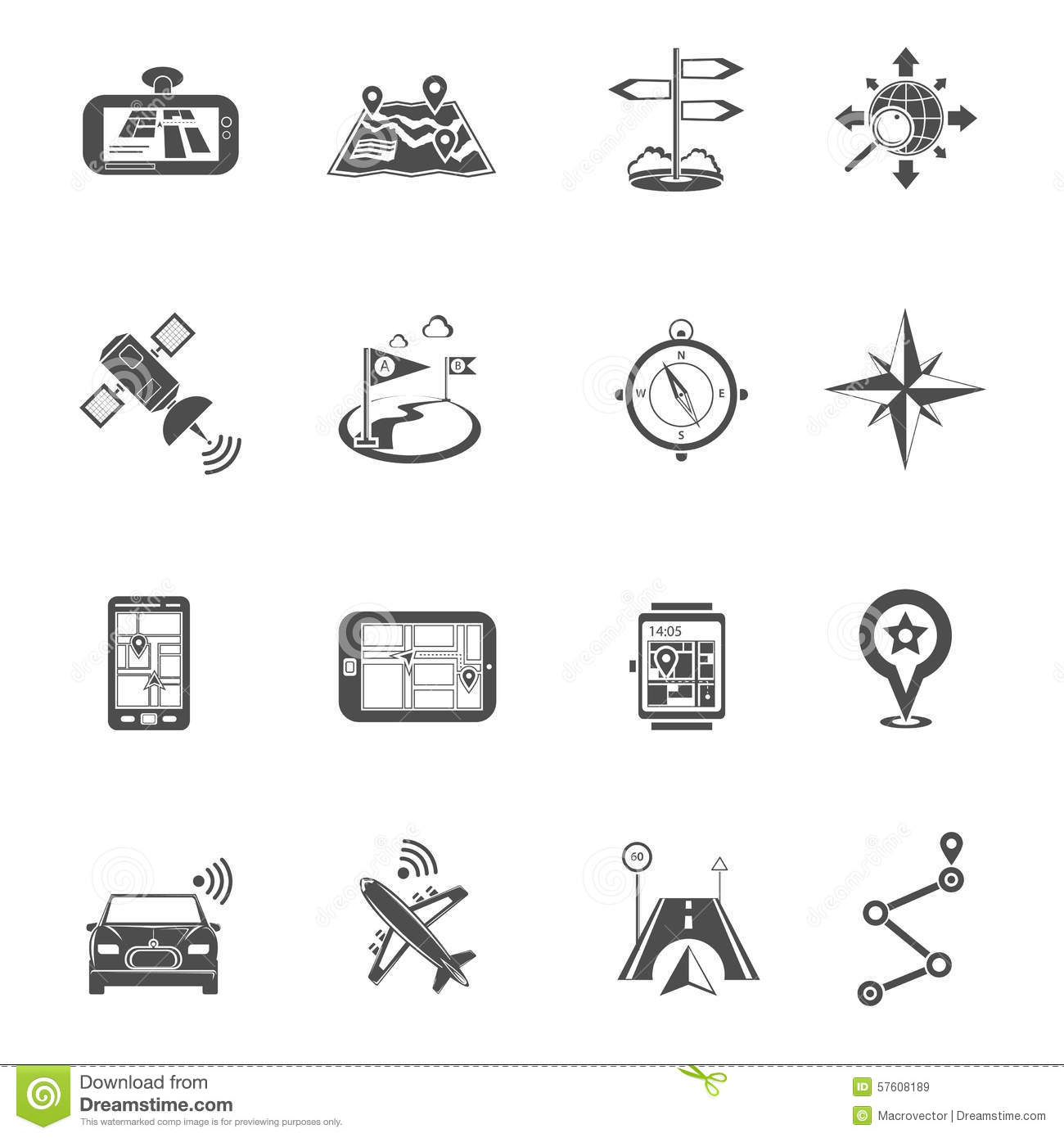 Location Flat Icon Set Stock Vector