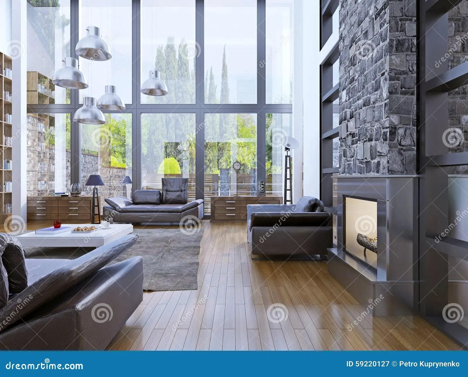 Loft Apartment Interior Design With Panoramic Window