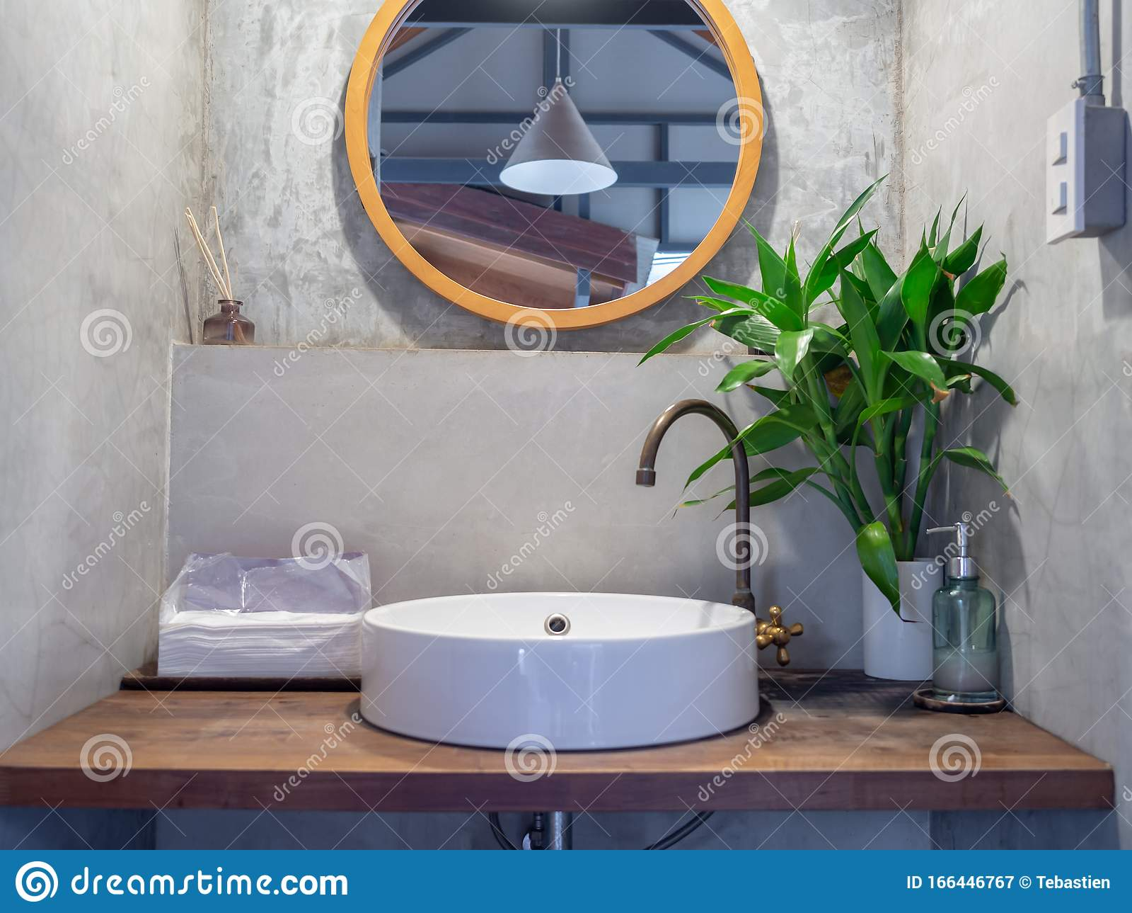 https www dreamstime com loft style bathroom interior round mirror concrete wall brass faucet white sink basin green leaves ceramic vase image166446767