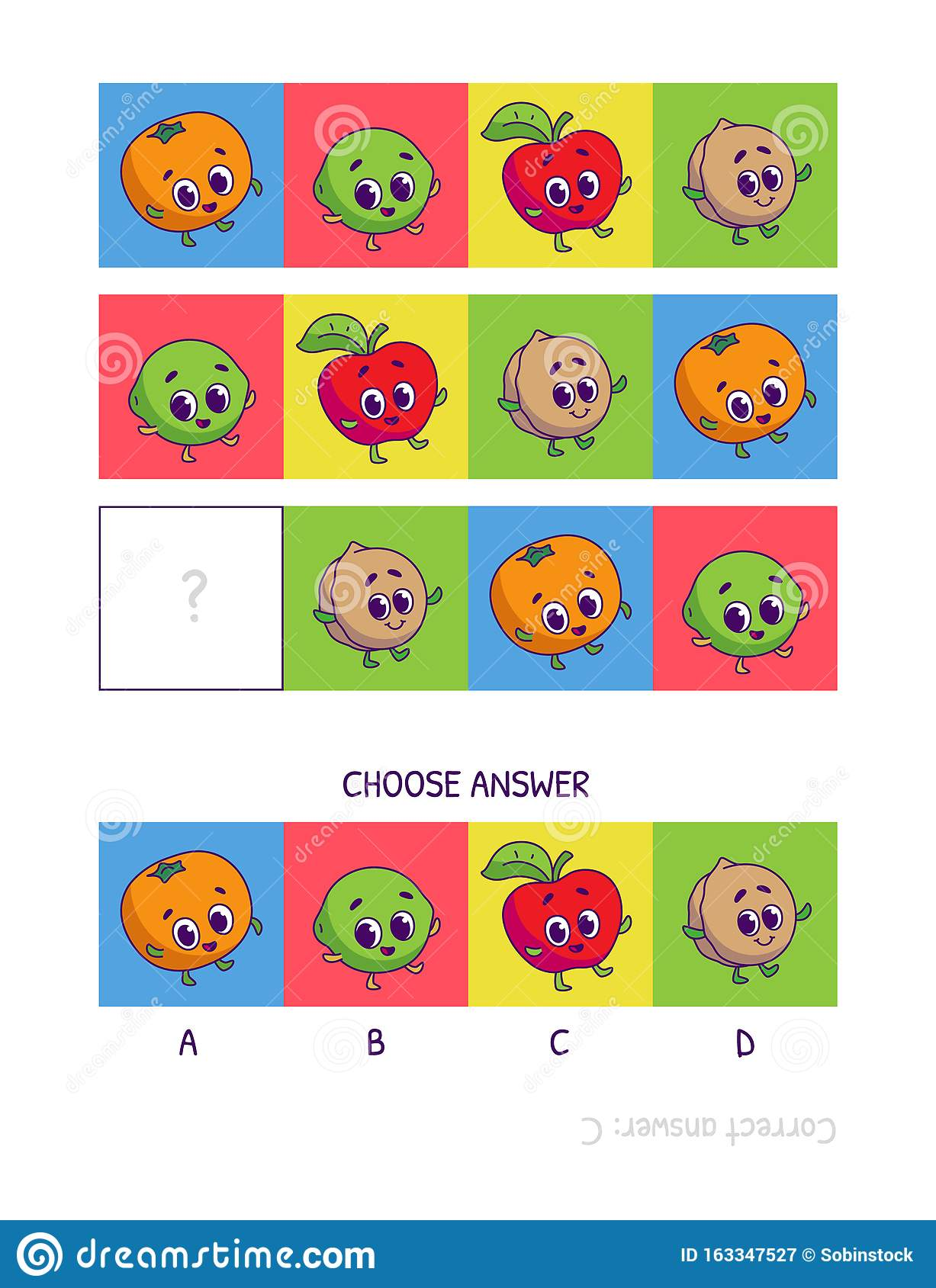 Cute Tangerine Lime Red Apple Walnut Logic Game For