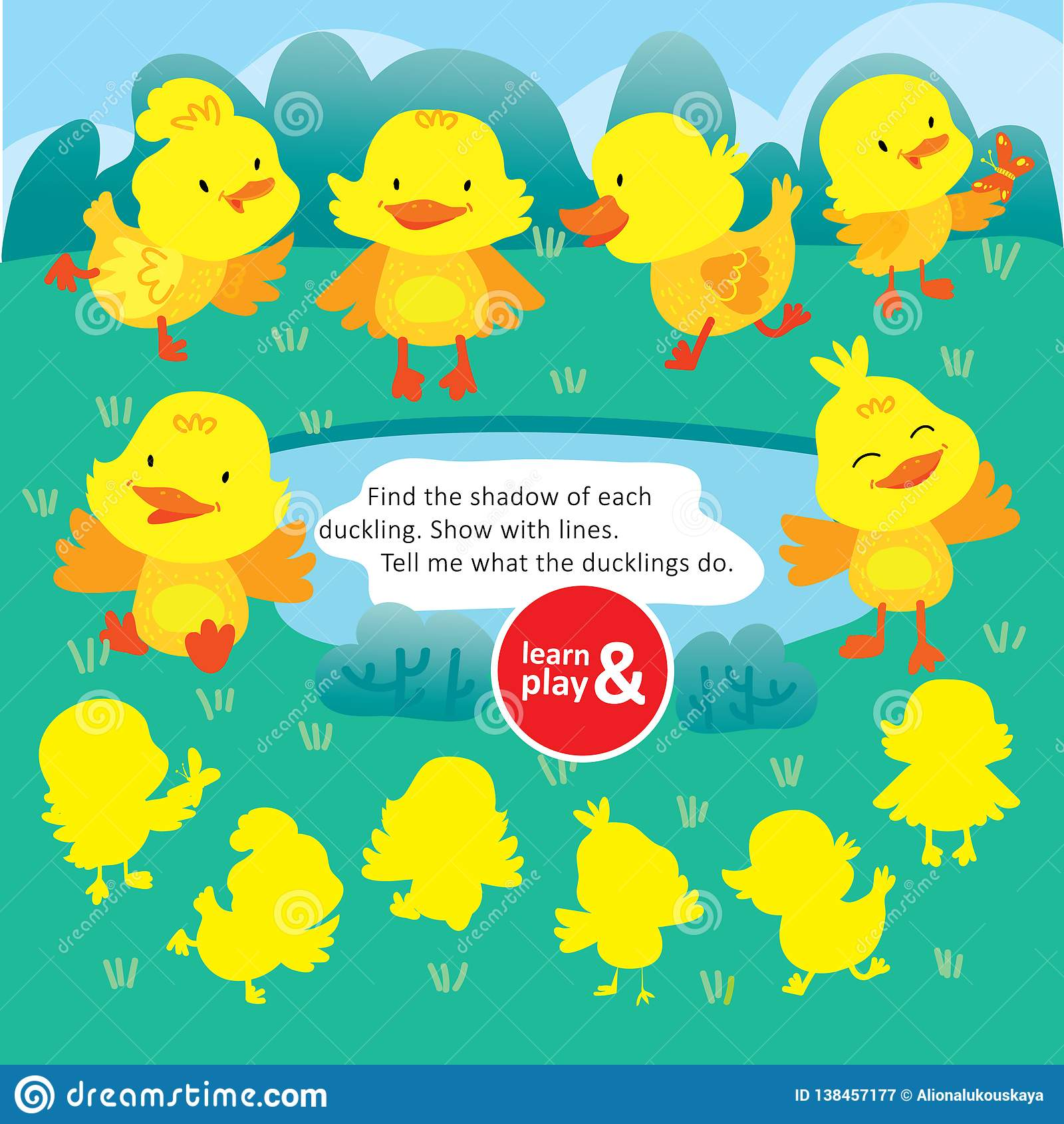 Logic Kid Find Duck Form Game Printable Worksheet Stock
