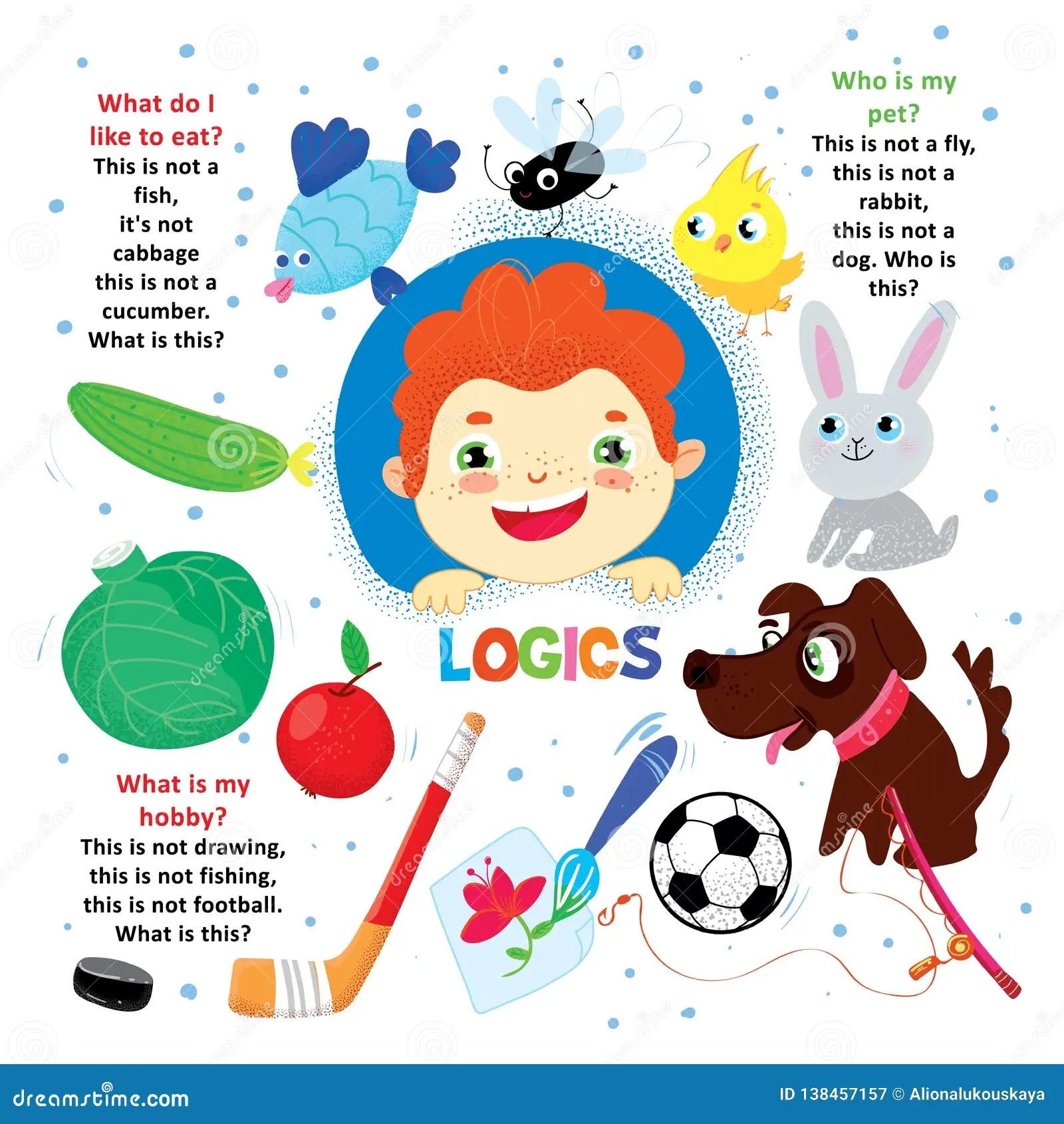 Logic Kid Question Game Printable Worksheet Cartoon Vector