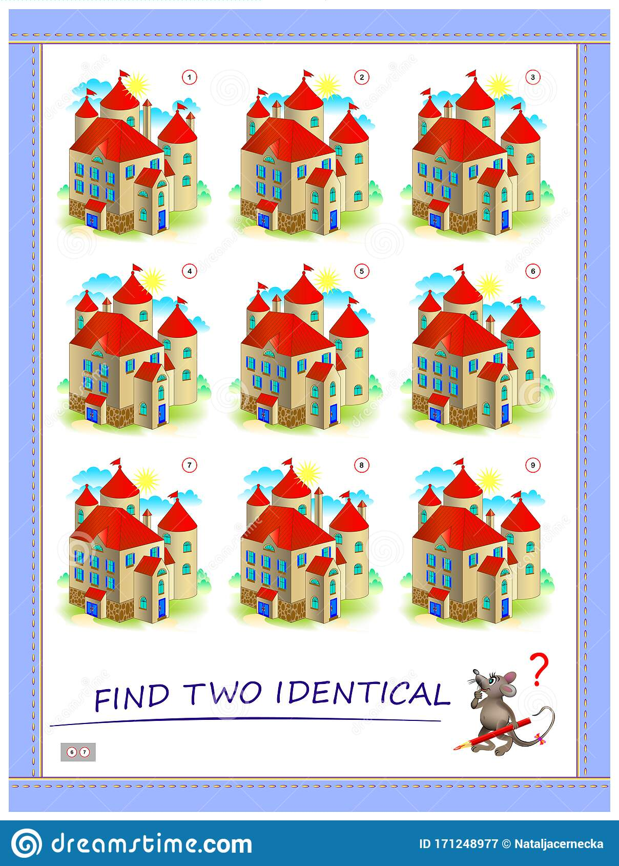 Logic Puzzle Game For Children And Adults Find Two