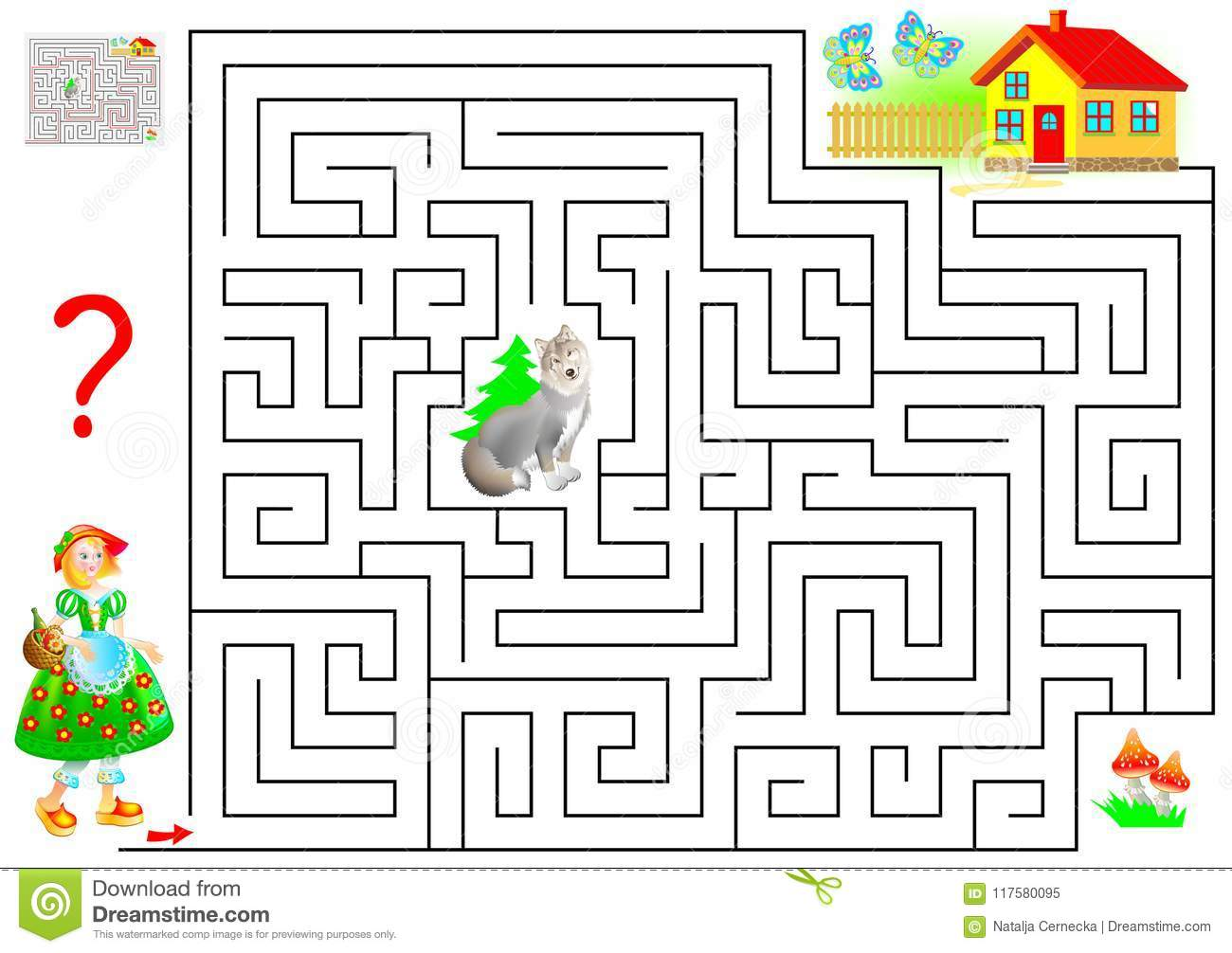 Logic Puzzle Game With Labyrinth For Children And Adults