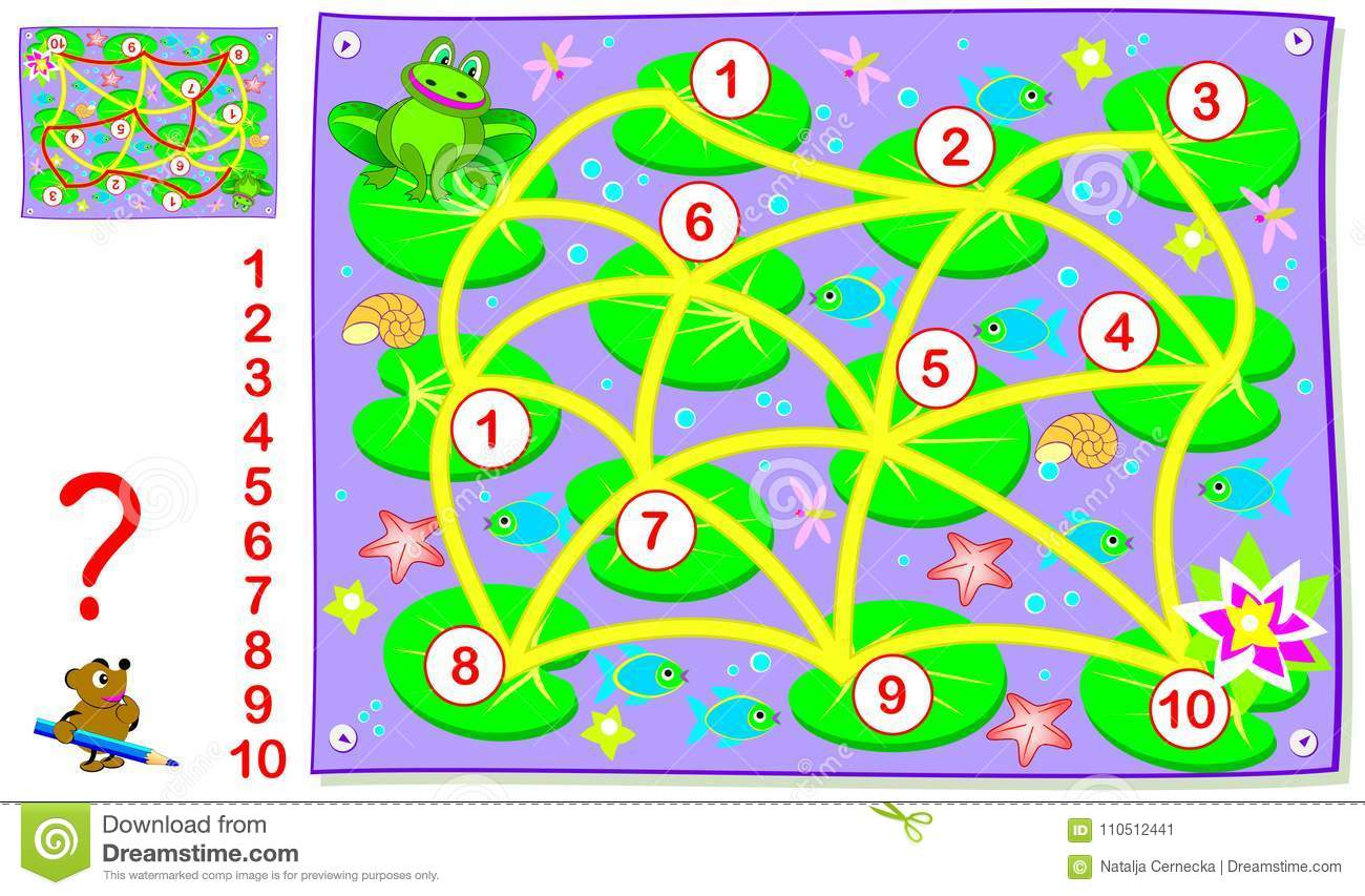 Logic Puzzle Game For Young Children With Labyrinth Draw