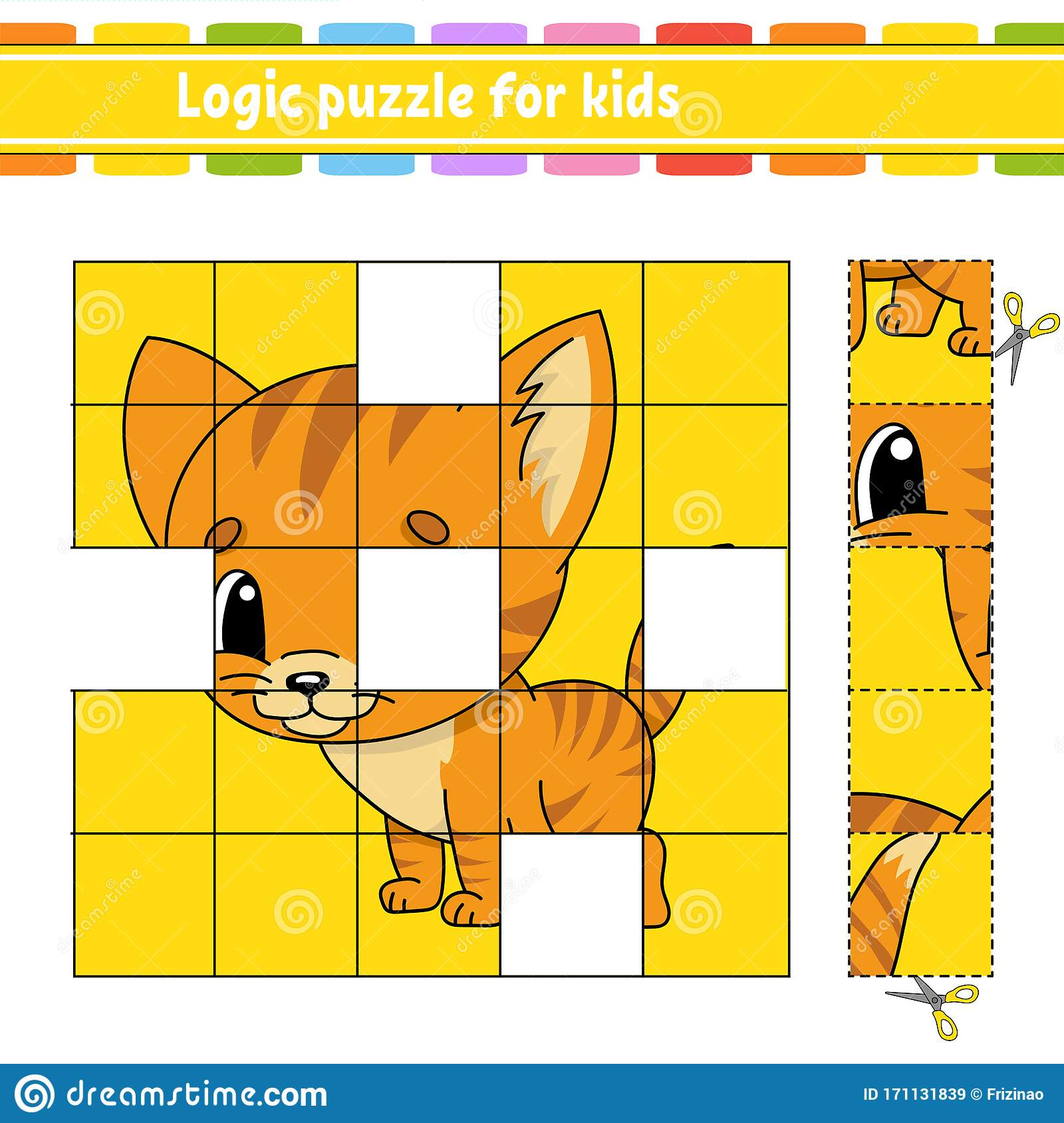 Logic Puzzle For Kids Cat Animal Education Developing