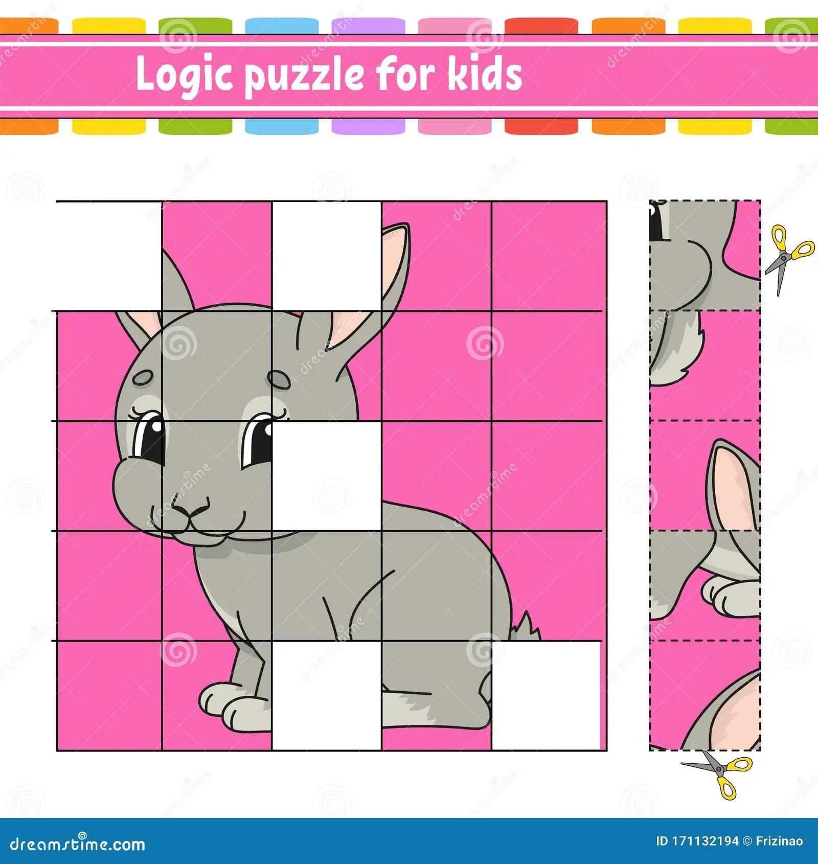 Logic Puzzle For Kids Rabbit Bunny Animal Education