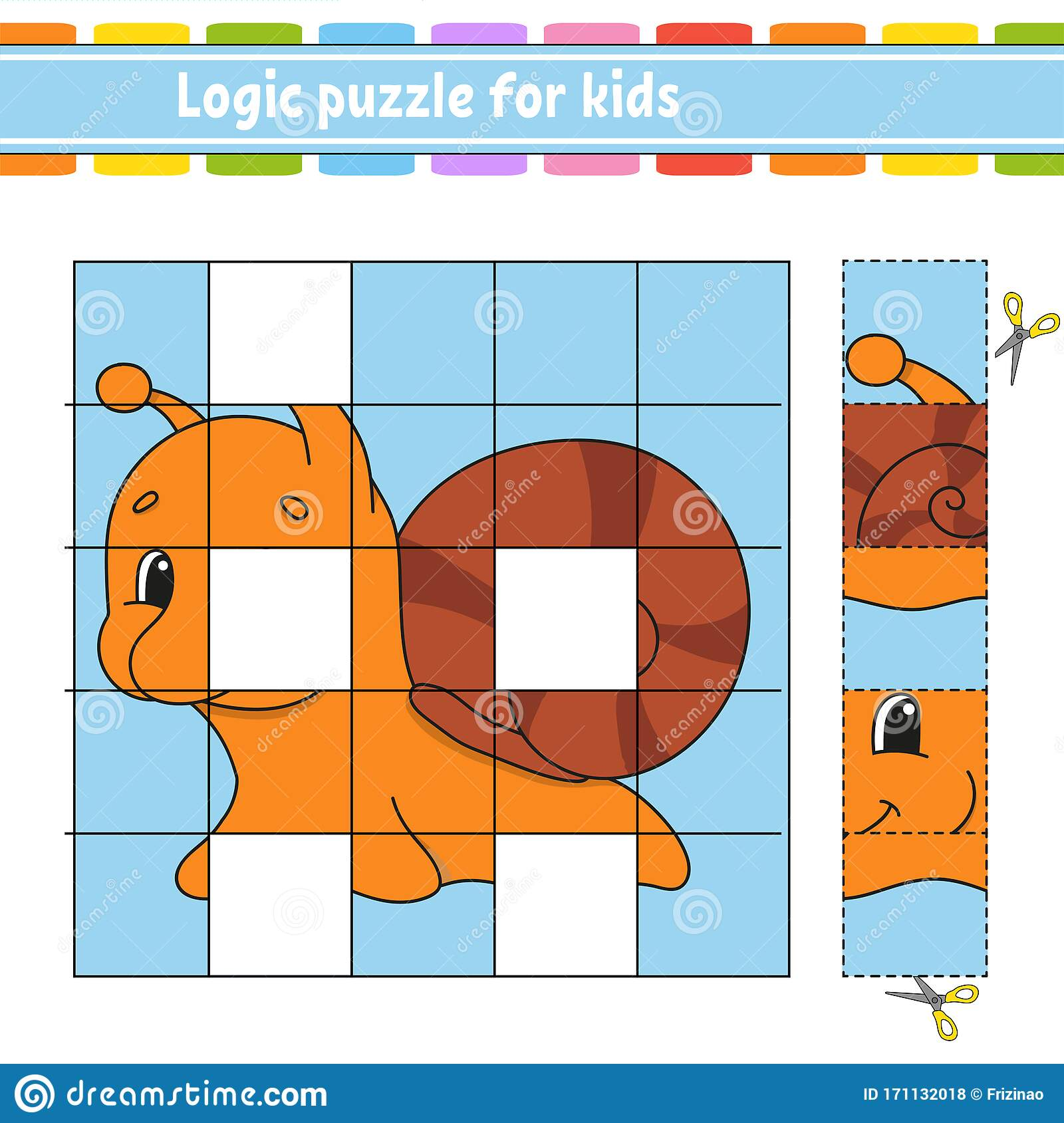Logic Puzzle For Kids Snail Mollusk Education Developing
