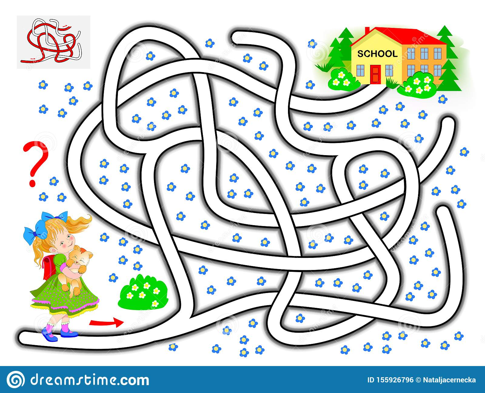 Logical Puzzle Game With Labyrinth For Children Help The