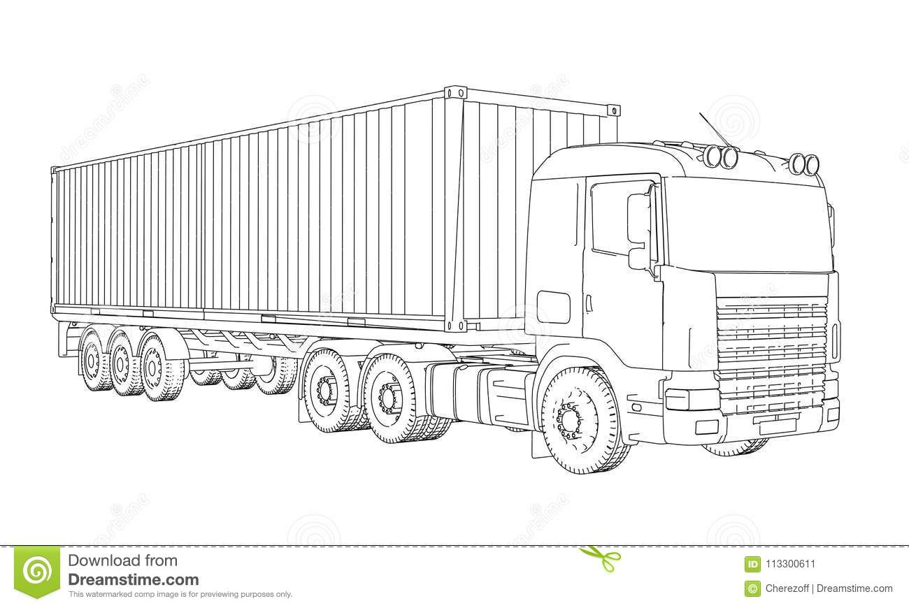 Logistic By Container Truck Stock Illustration