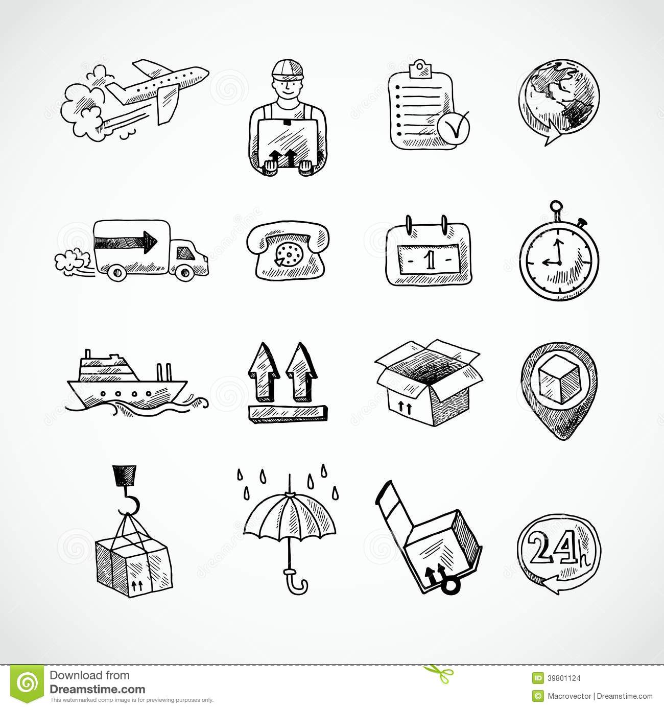 Logistic Hand Drawn Icons Set Stock Vector