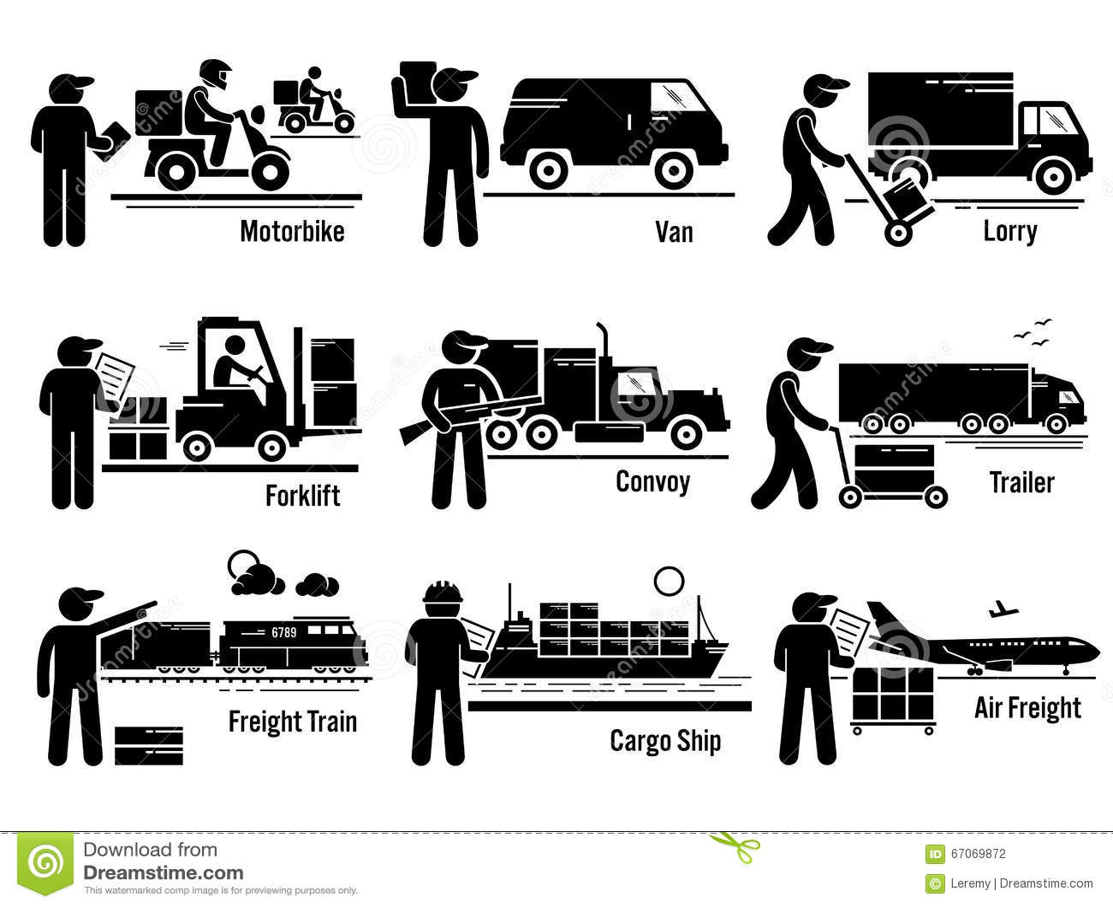 Logistic Transportation Vehicles Set Clipart Stock Vector