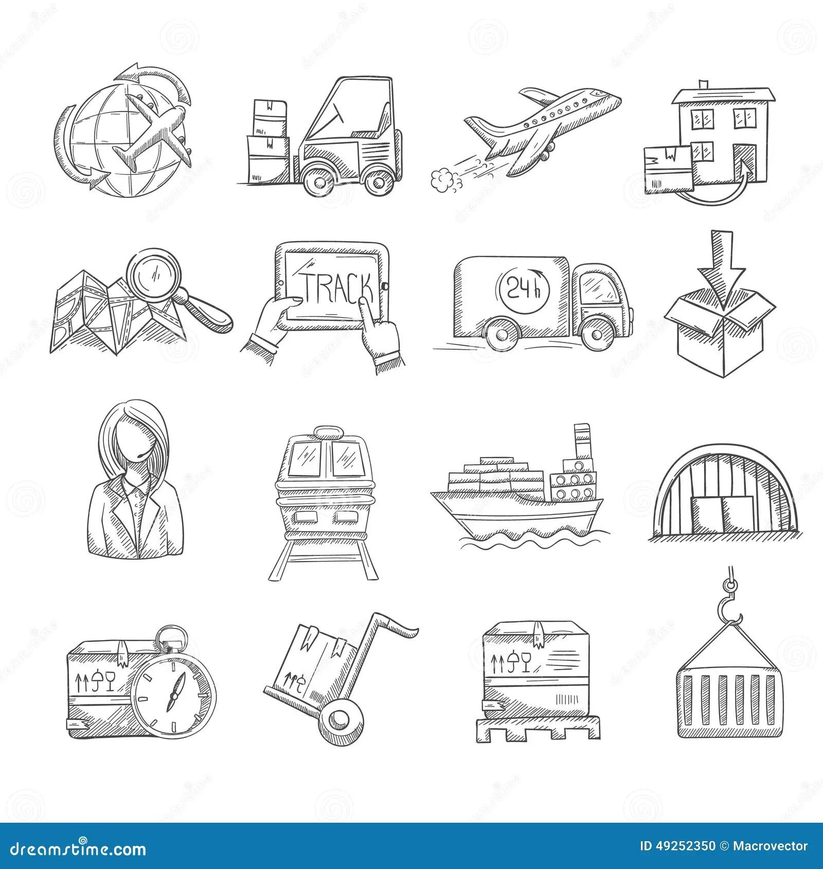 Logistics Sketch Set Stock Vector