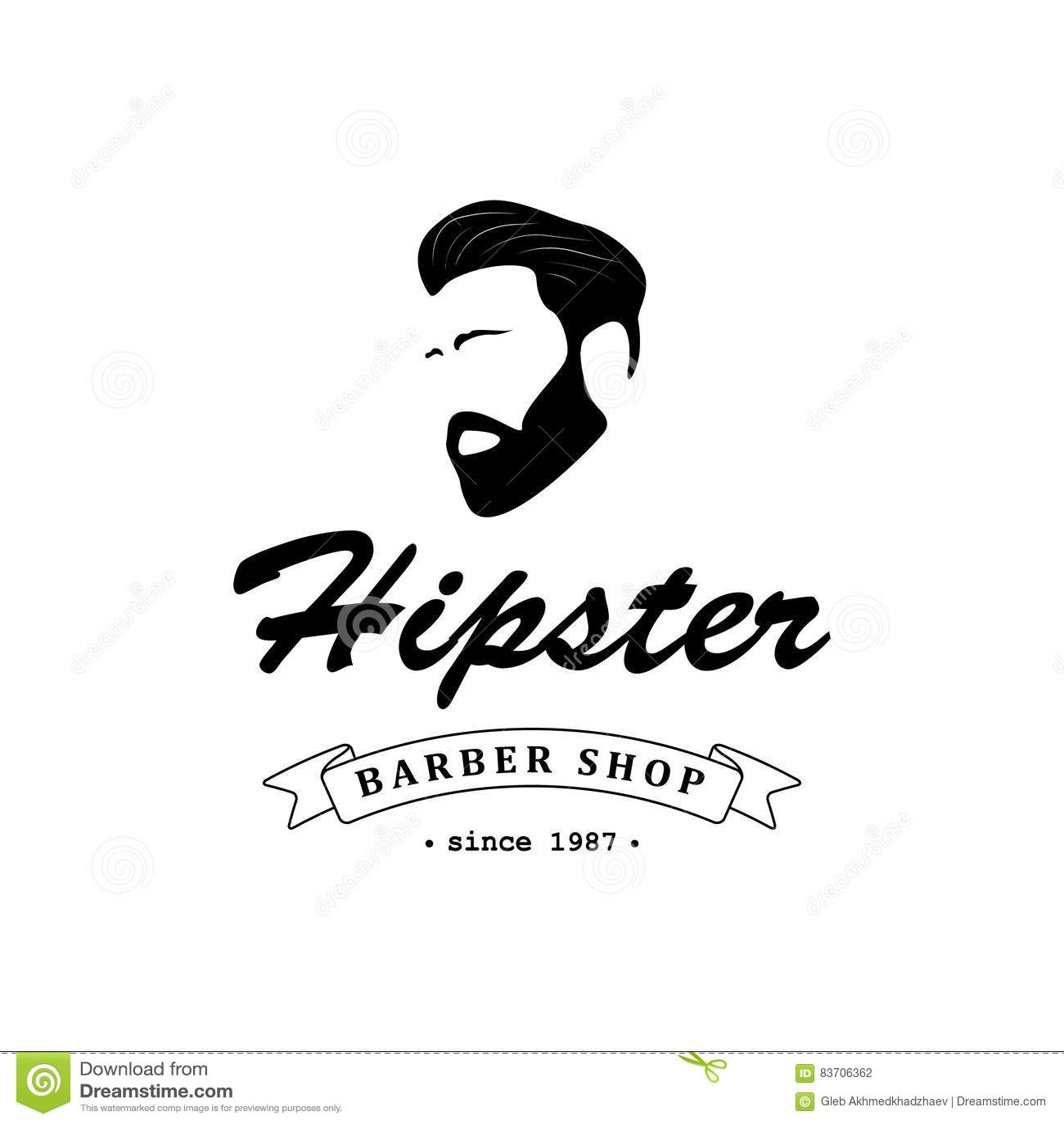 Barber Shop Logo Cartoon Vector