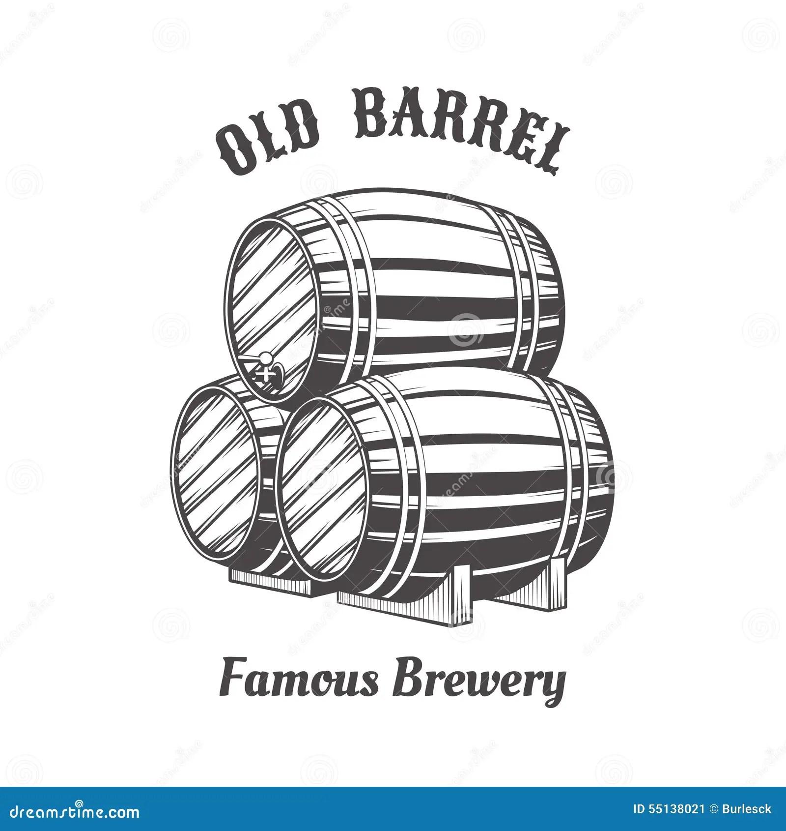 Logo Design With Wooden Beer Barrels Stock Vector