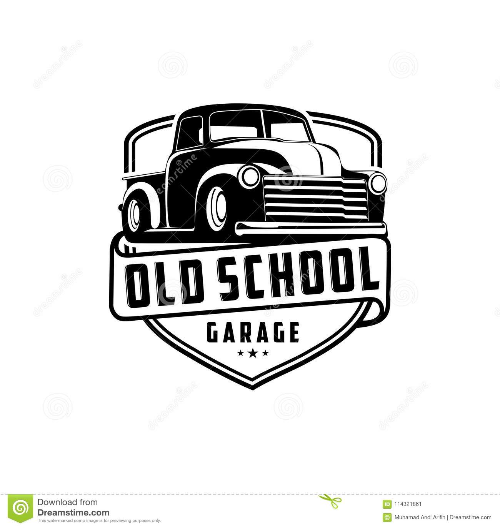 Old School Garage Truck Logo Vector Stock Vector
