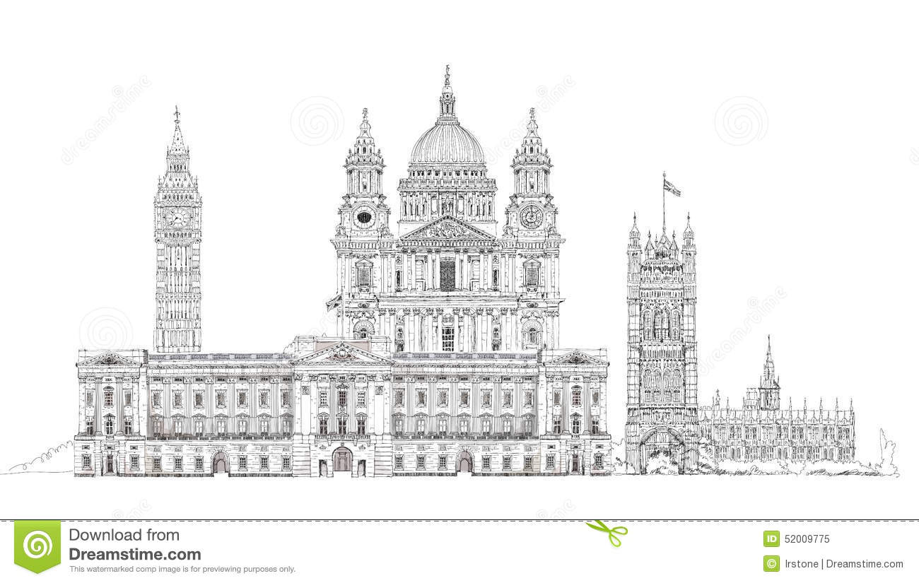 London Sketch Big Ben Parliament St Paul Cathedral