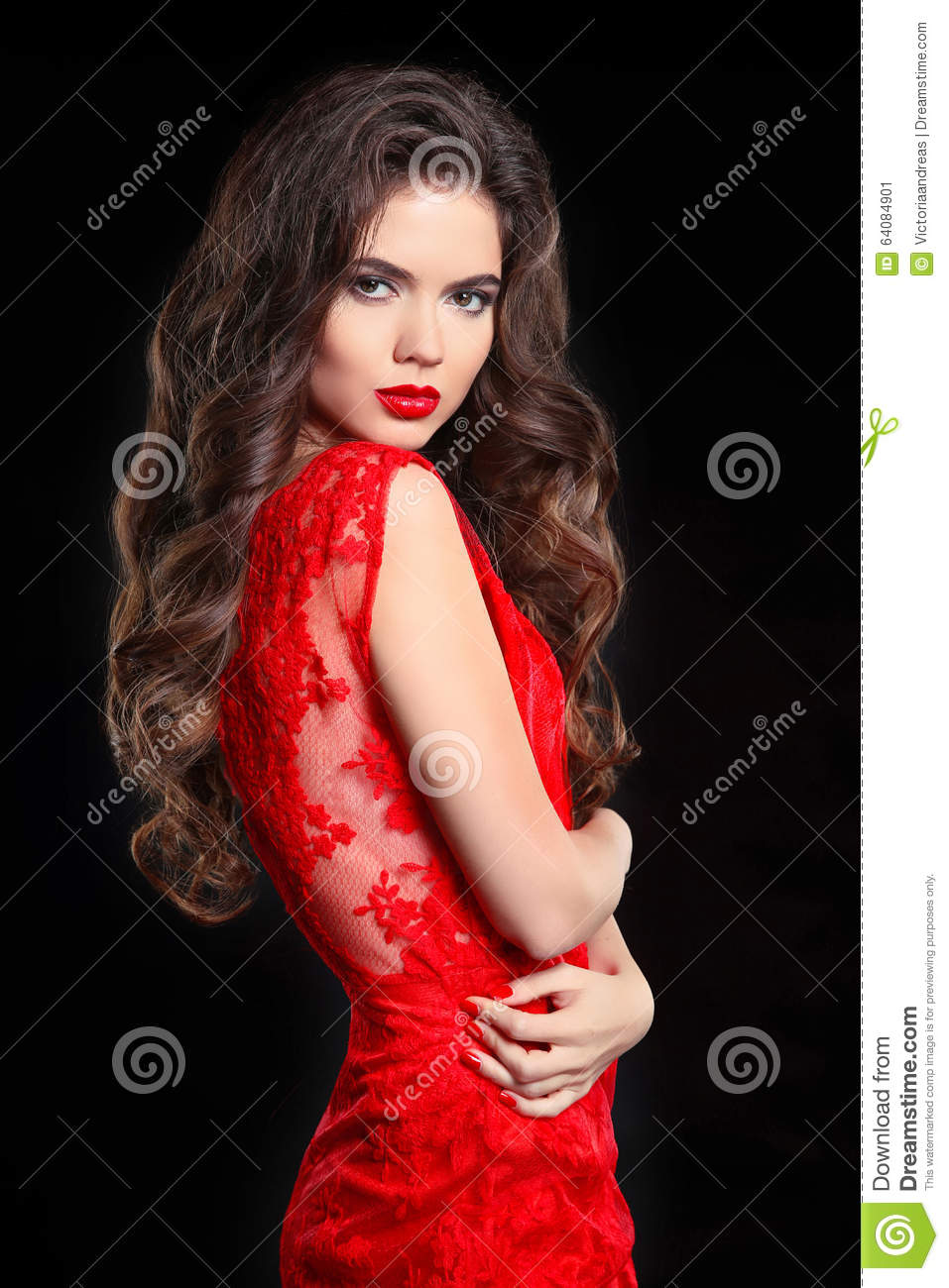 Long Hair Beautiful Brunette Woman In Red Lace Dress