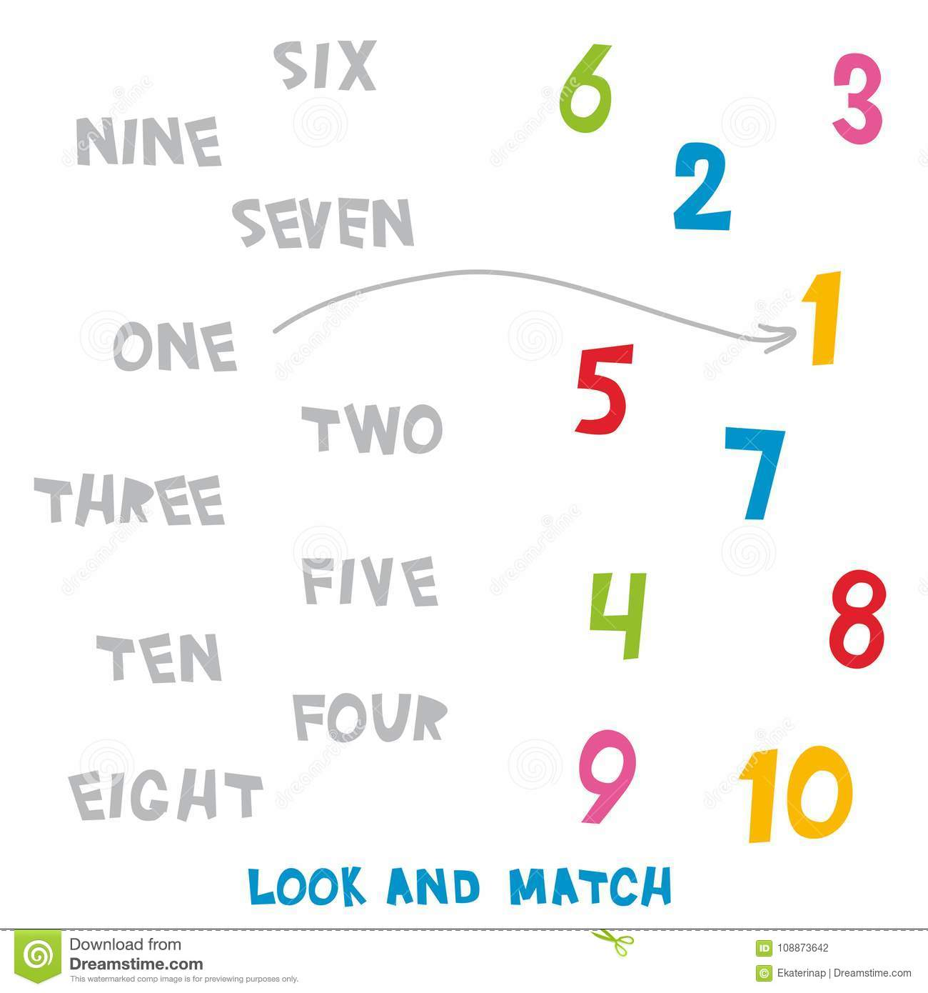 Look And Match The Numbers 1 To 10 Kids Words Learning