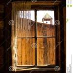 Looking Out A Rustic Wooden Western Window Frame Stock Image Image Of Frame Curtains 115481559