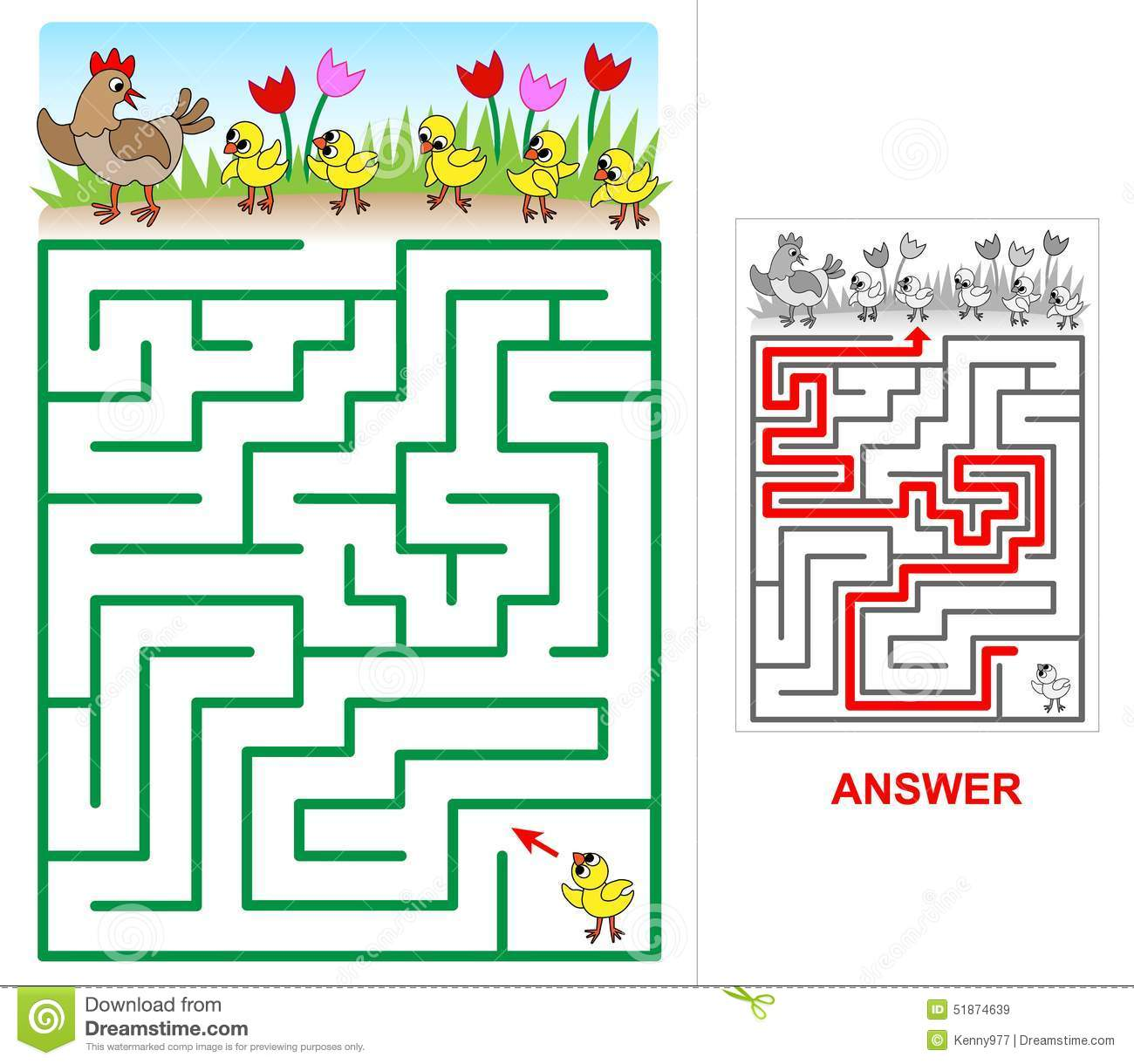Easy Chicken Maze Cartoon Vector