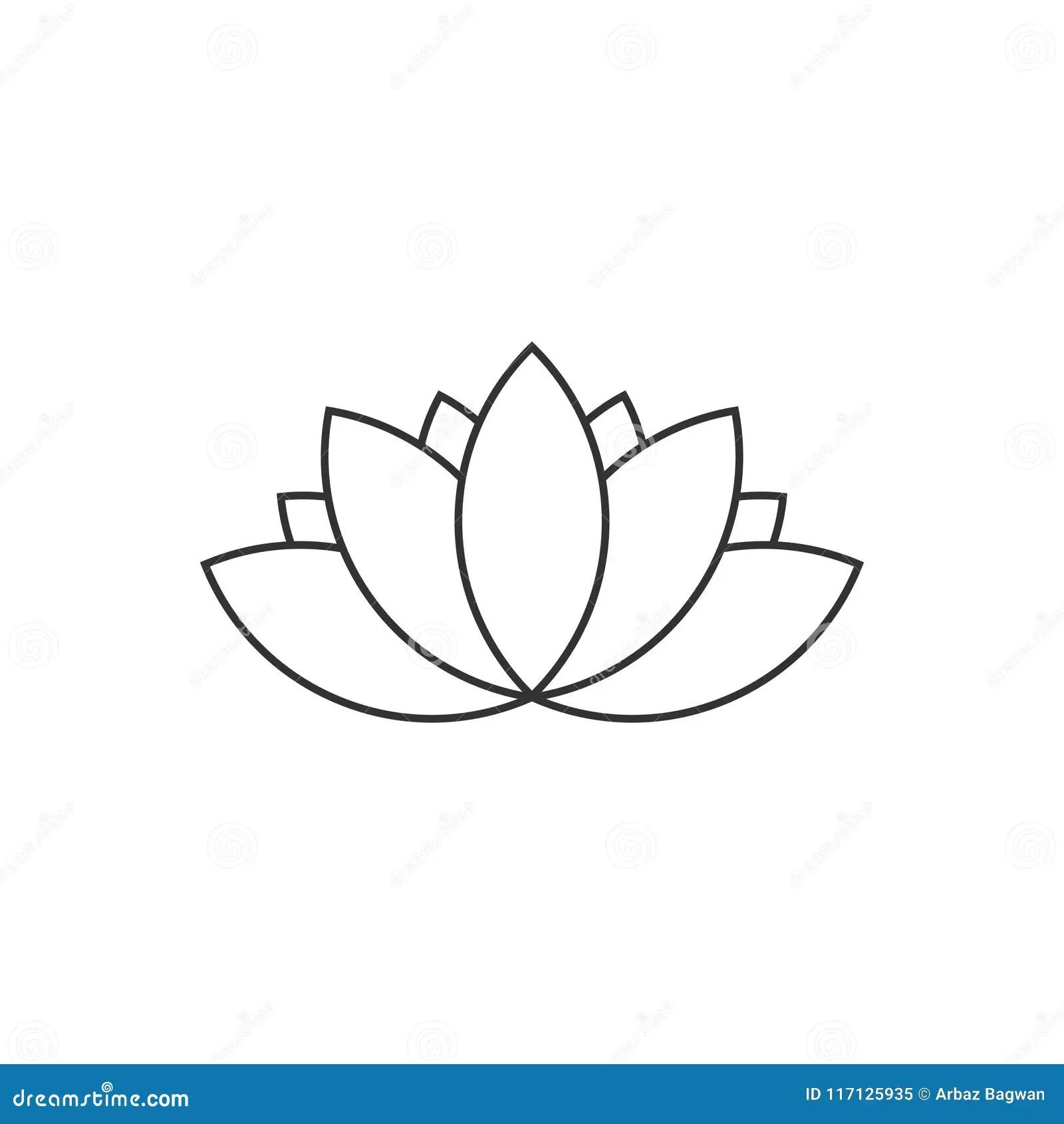 Stylized Lotus Flower Icon Vector Background Cartoon