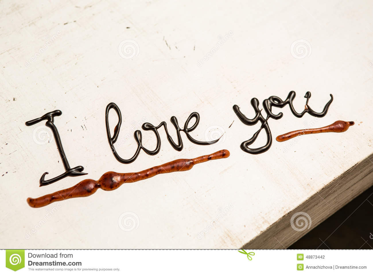 Love Coffee Cup And Handwriting I Love You Stock Photo