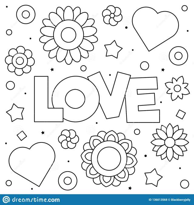 Love. Coloring Page. Black and White Vector Illustration. Stock