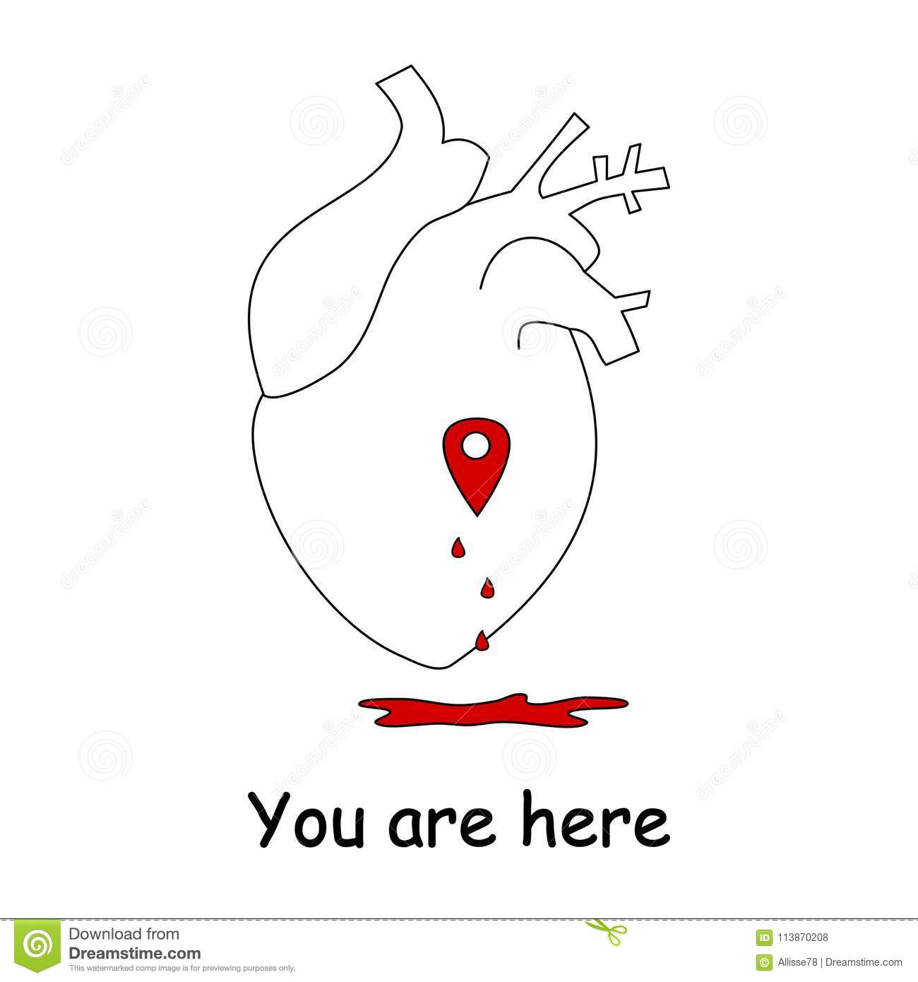 Love Concept Vector Illustration With Human Heart And Map
