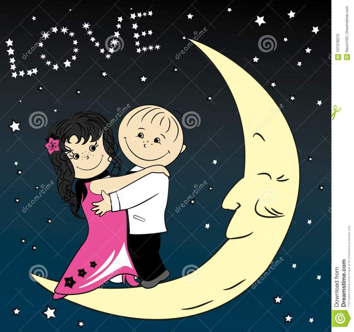 Download Love Couple Dancing On The Moon Stock Vector ...